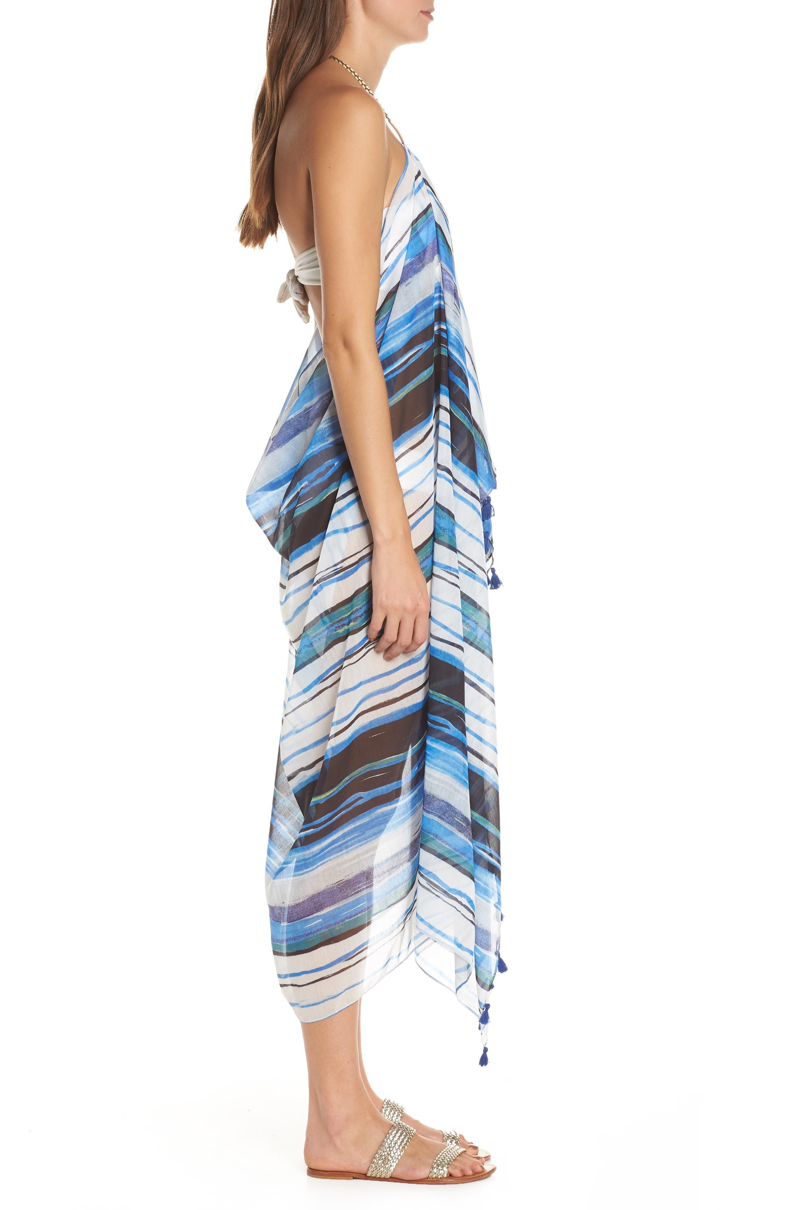 Beach to Street Cover-Up Dress,                             Alternate thumbnail 3, color,                             AQUA RITUAL