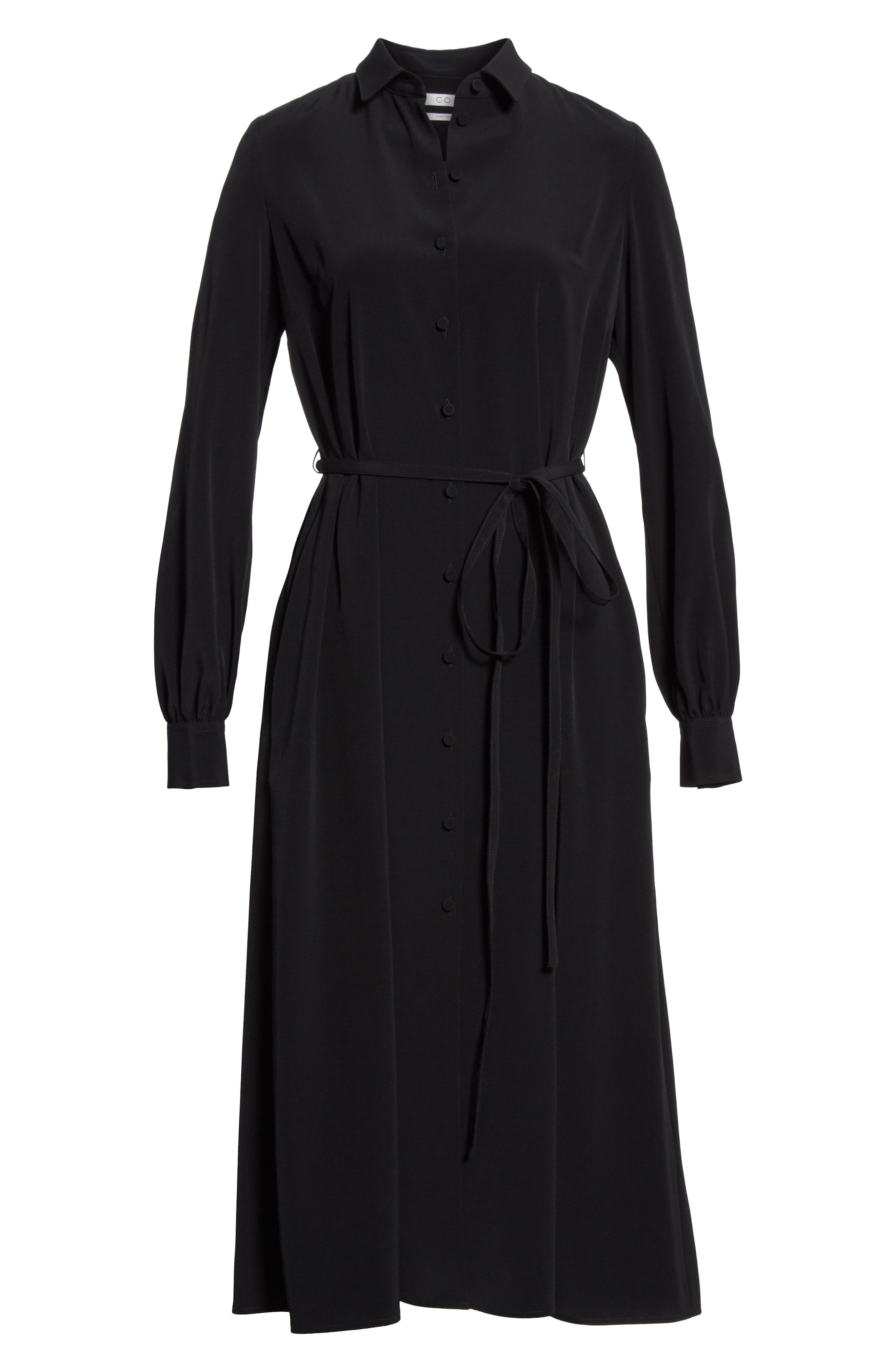 CO,                             Belted Shirtdress,                             Alternate thumbnail 6, color,                             BLACK