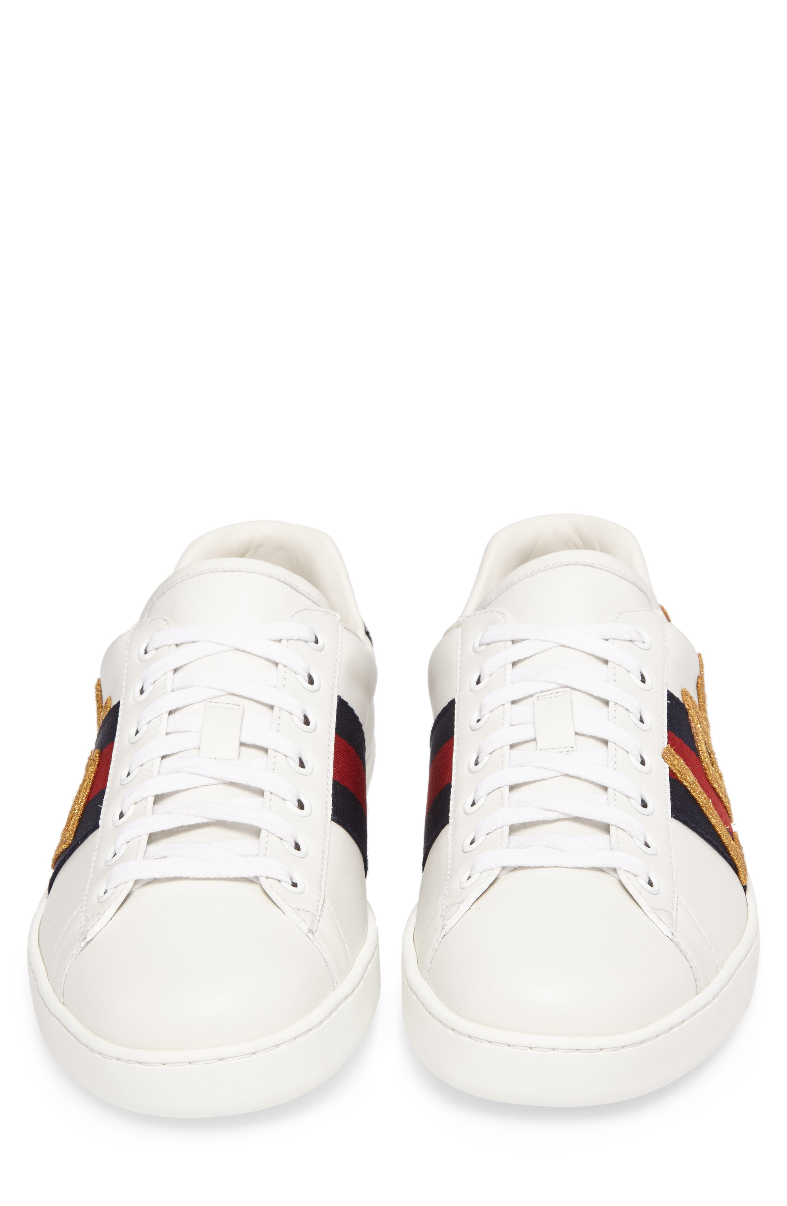 New Ace Embroidered Sneaker,                             Alternate thumbnail 4, color,                             WHITE