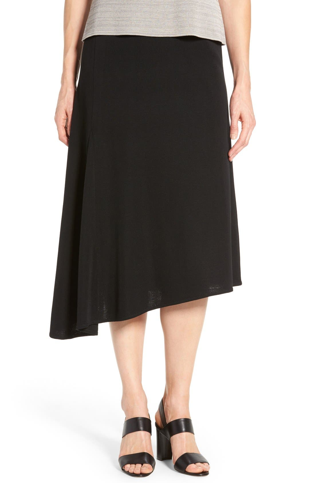 Asymmetrical A-Line Knit Skirt,                         Main,                         color, BLACK
