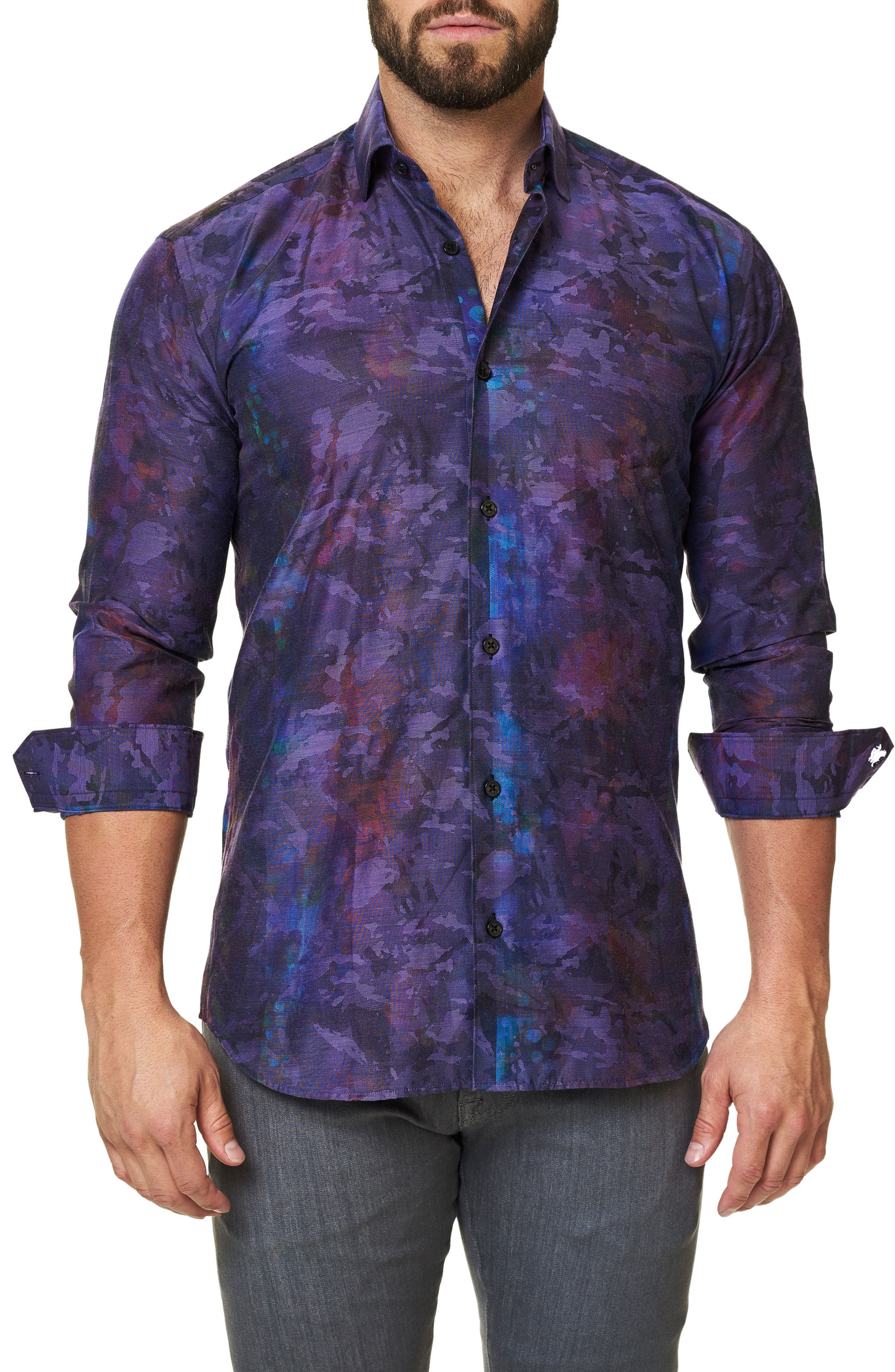 Trim Fit Print Sport Shirt,                             Main thumbnail 1, color,                             509