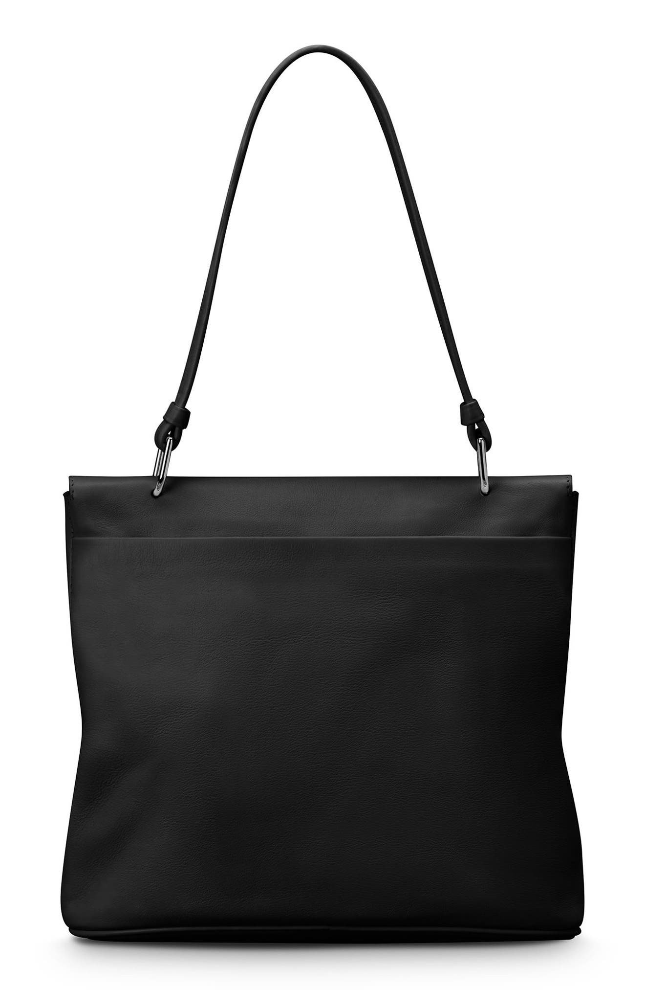 Birdy Leather Shoulder Bag,                             Alternate thumbnail 3, color,                             BLACK