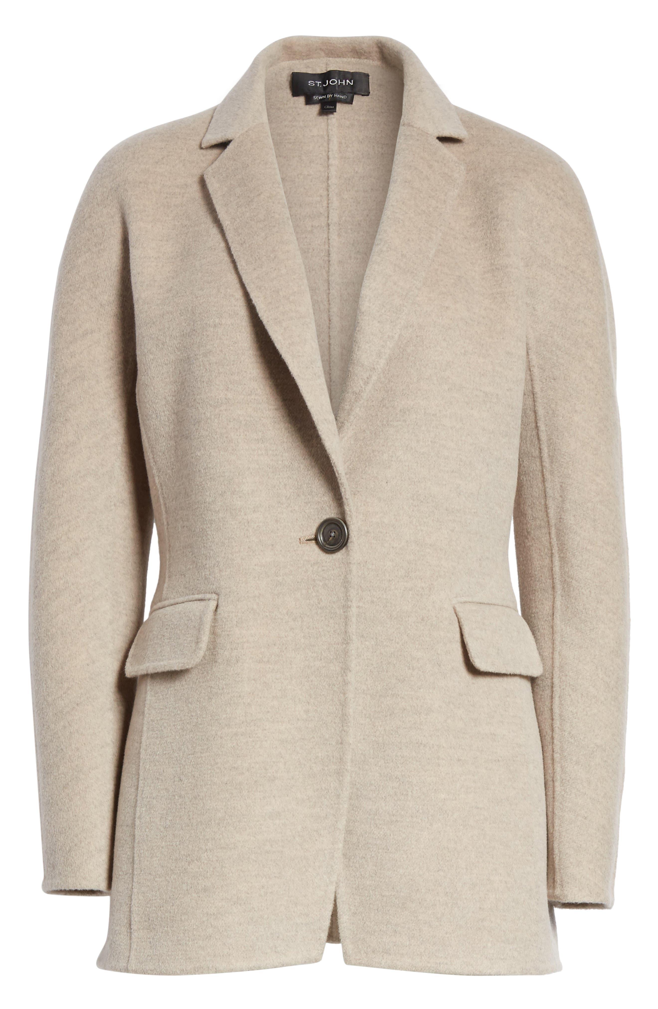 Double Face Wool, Angora & Cashmere Blend Blazer,                             Alternate thumbnail 5, color,                             205