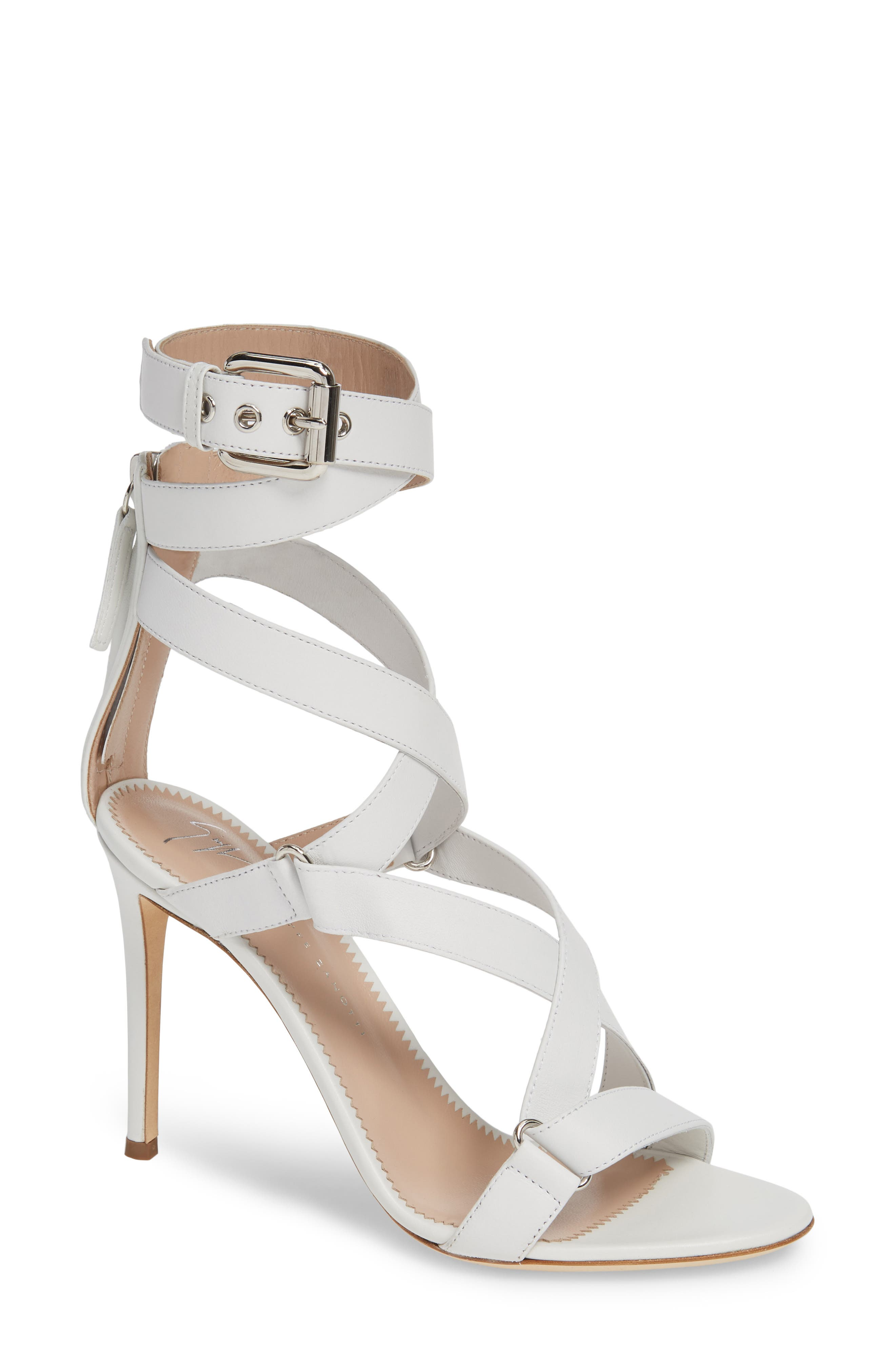 GIUSEPPE ZANOTTI Wrap Sandal, Main, color, WHITE