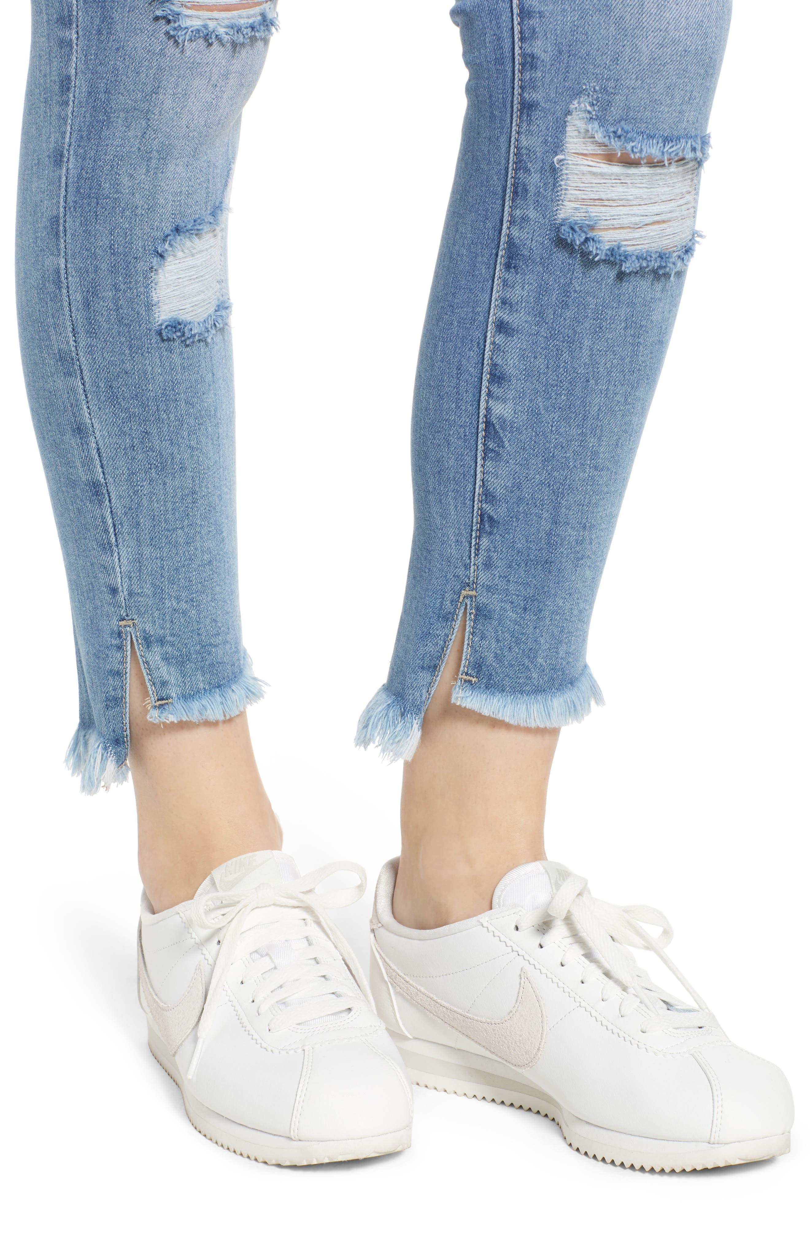 Ripped High Waist Step Hem Skinny Jeans,                             Alternate thumbnail 4, color,                             400