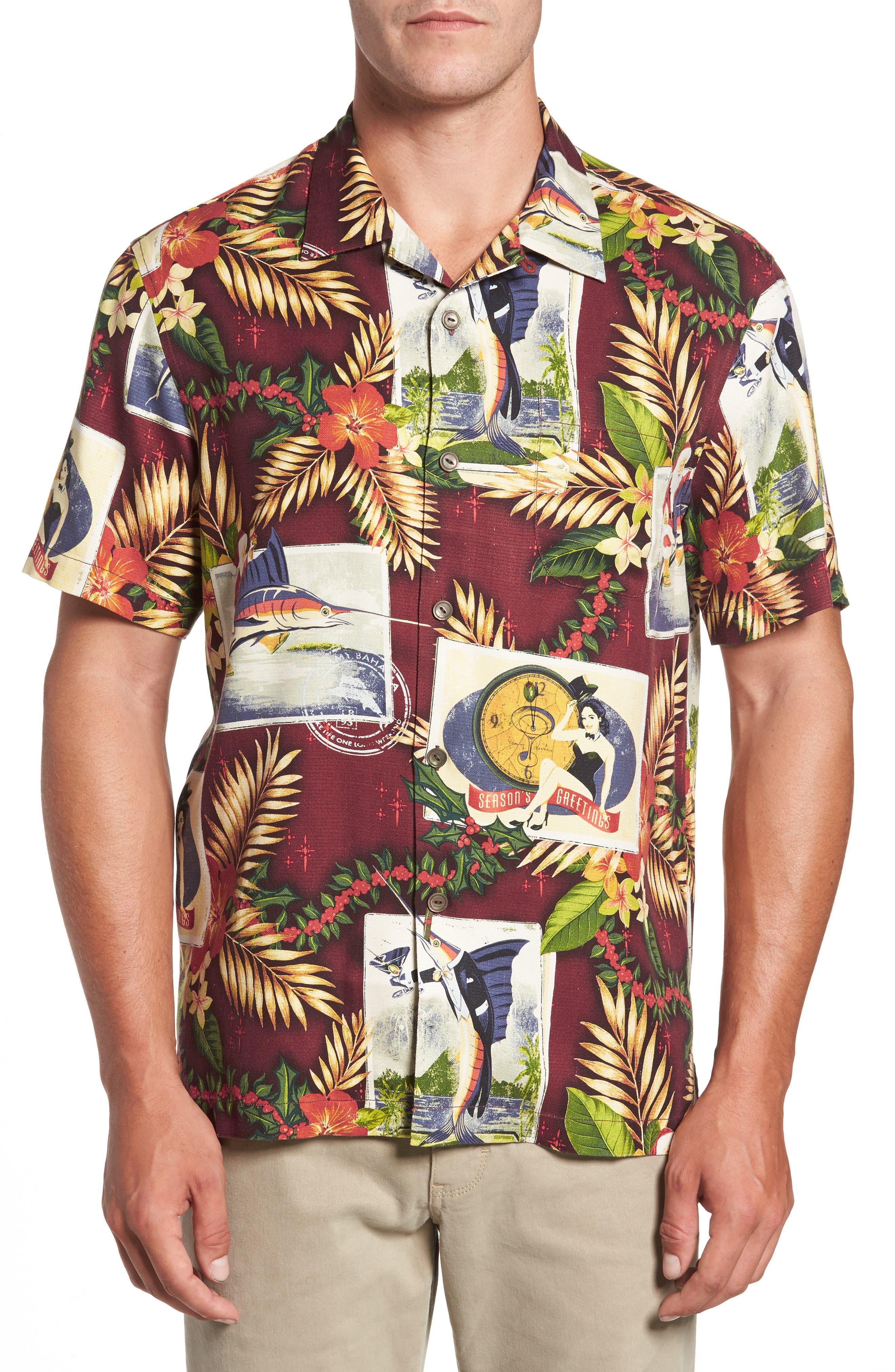 Tommy Holidays Silk Woven Shirt,                             Main thumbnail 2, color,