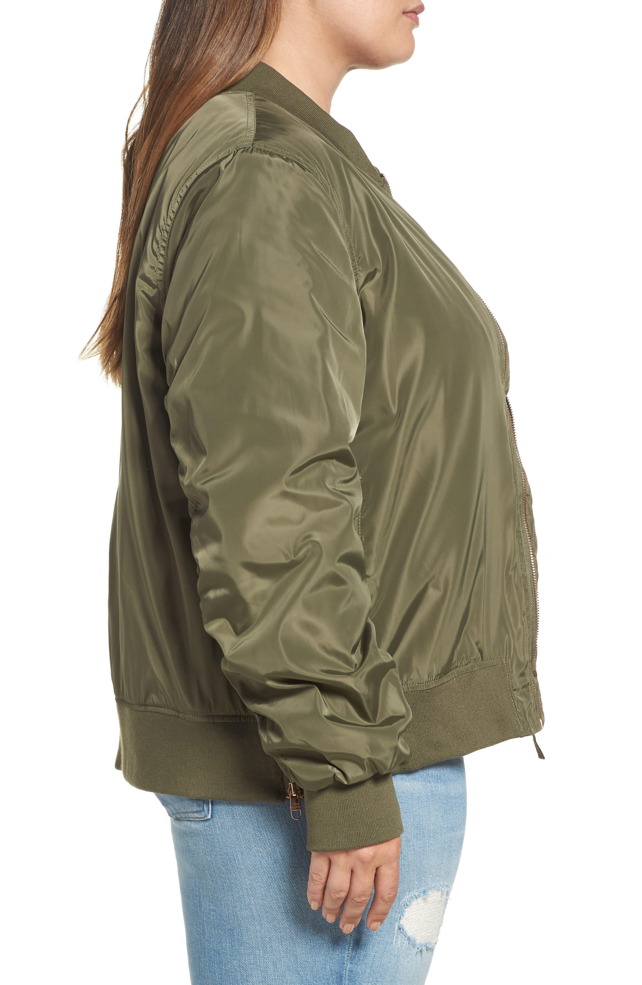 Side Zip Bomber Jacket,                             Alternate thumbnail 3, color,                             341