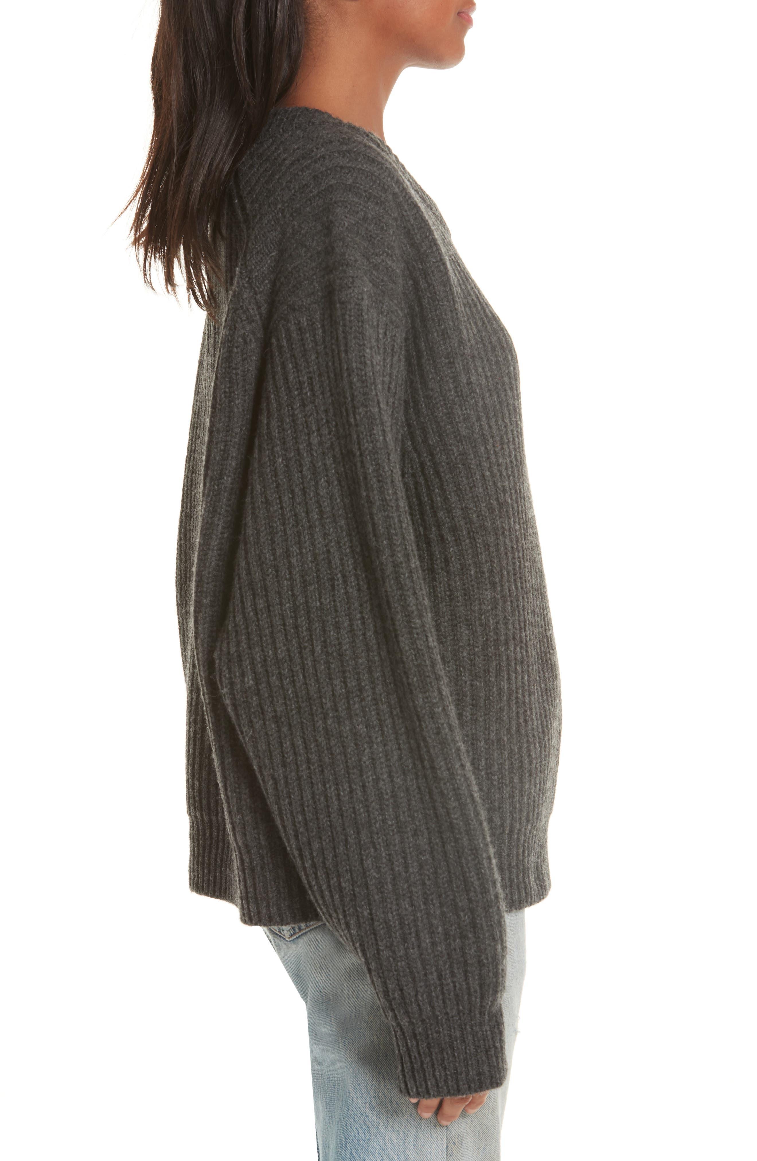 Ribbed Oversized Sweater,                             Alternate thumbnail 3, color,                             DARK GREY