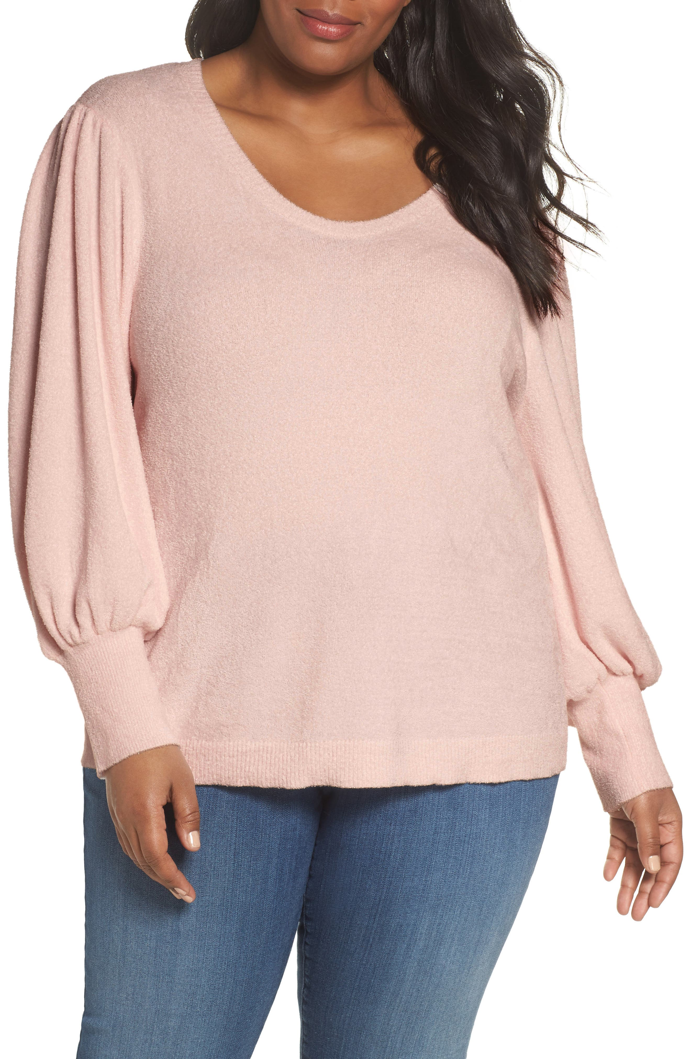 Puff Sleeve Sweater,                         Main,                         color, PINK HERO
