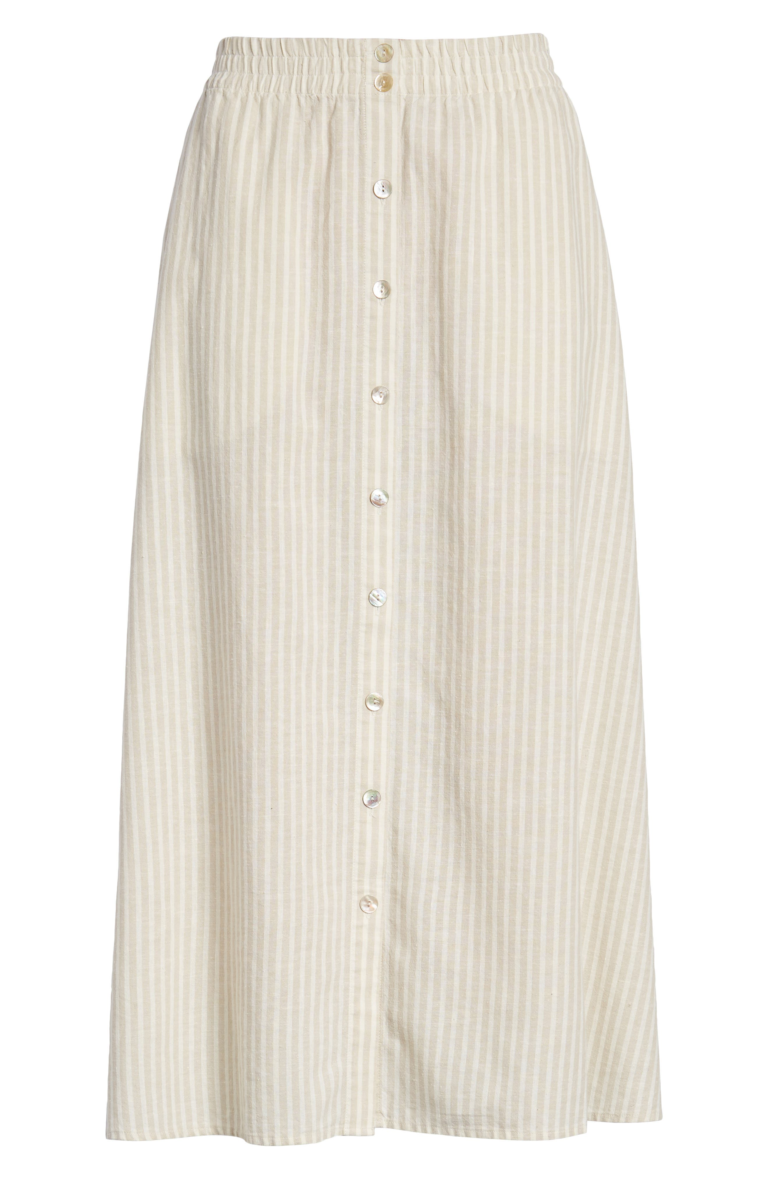 EILEEN FISHER,                             Stripe Hemp & Organic Cotton Midi Skirt,                             Alternate thumbnail 6, color,                             257