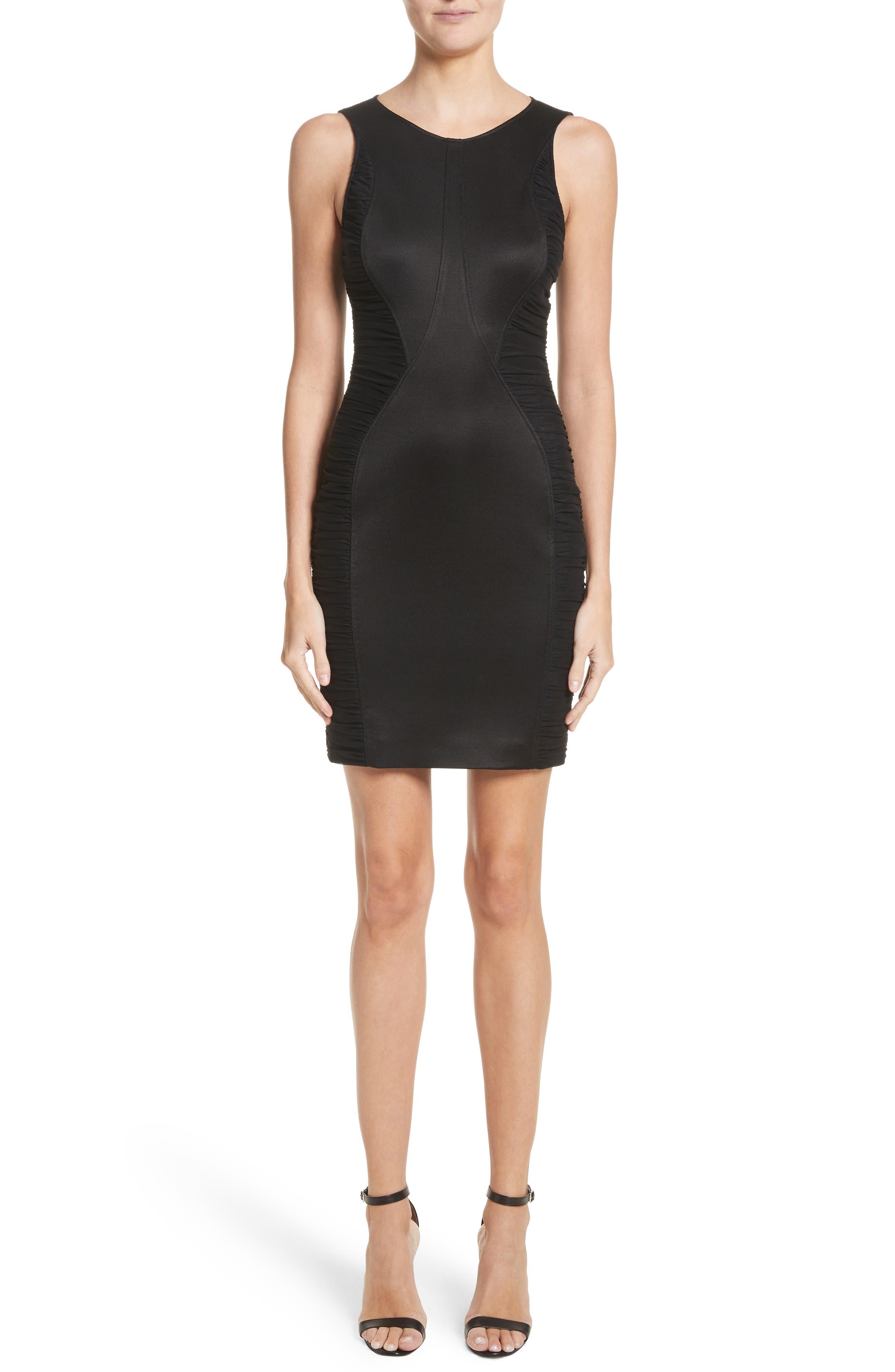 Ruched Piqué Sheath Dress,                         Main,                         color, 001