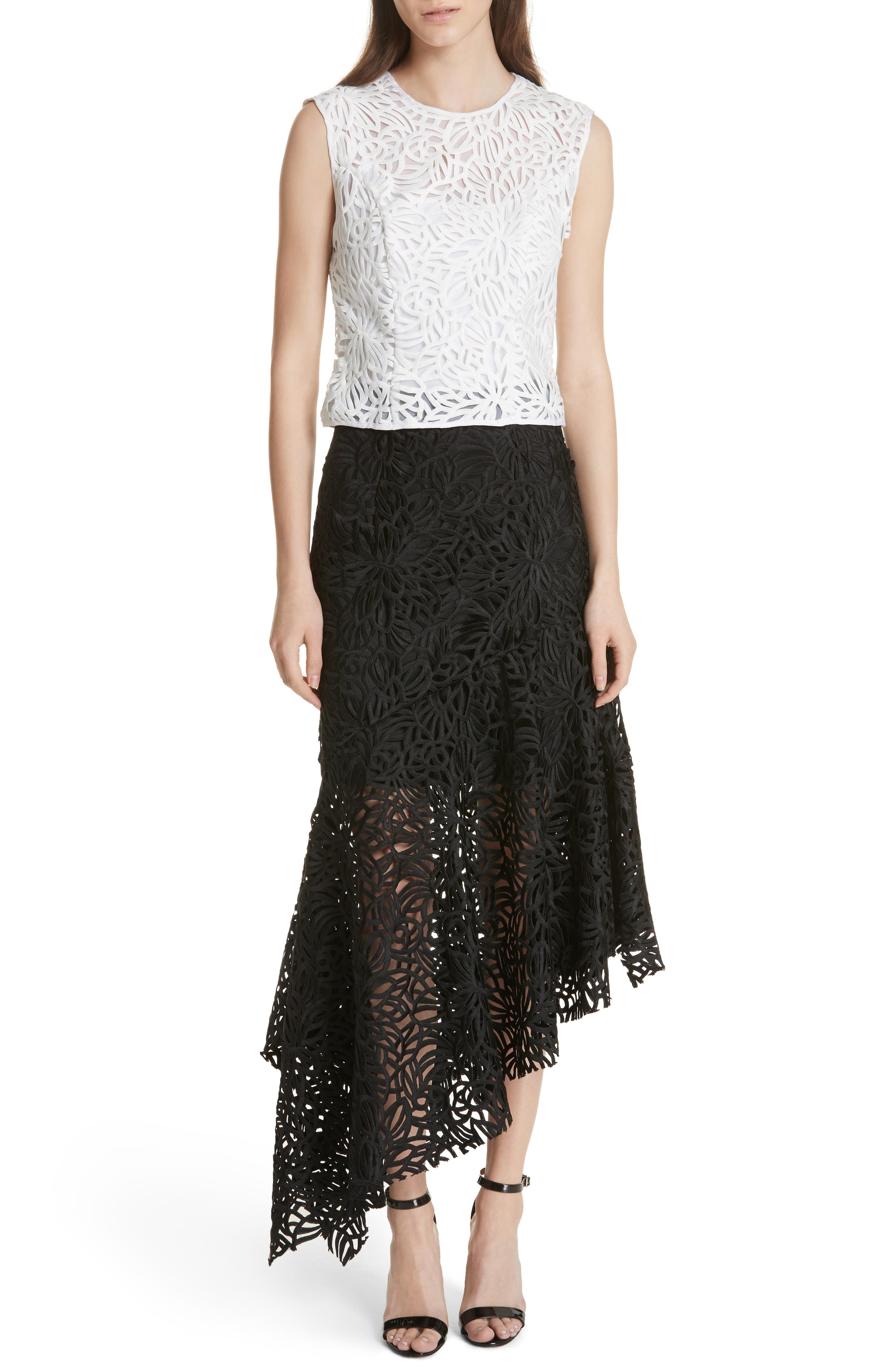 Flounce Hem Lace Skirt,                             Alternate thumbnail 7, color,                             001