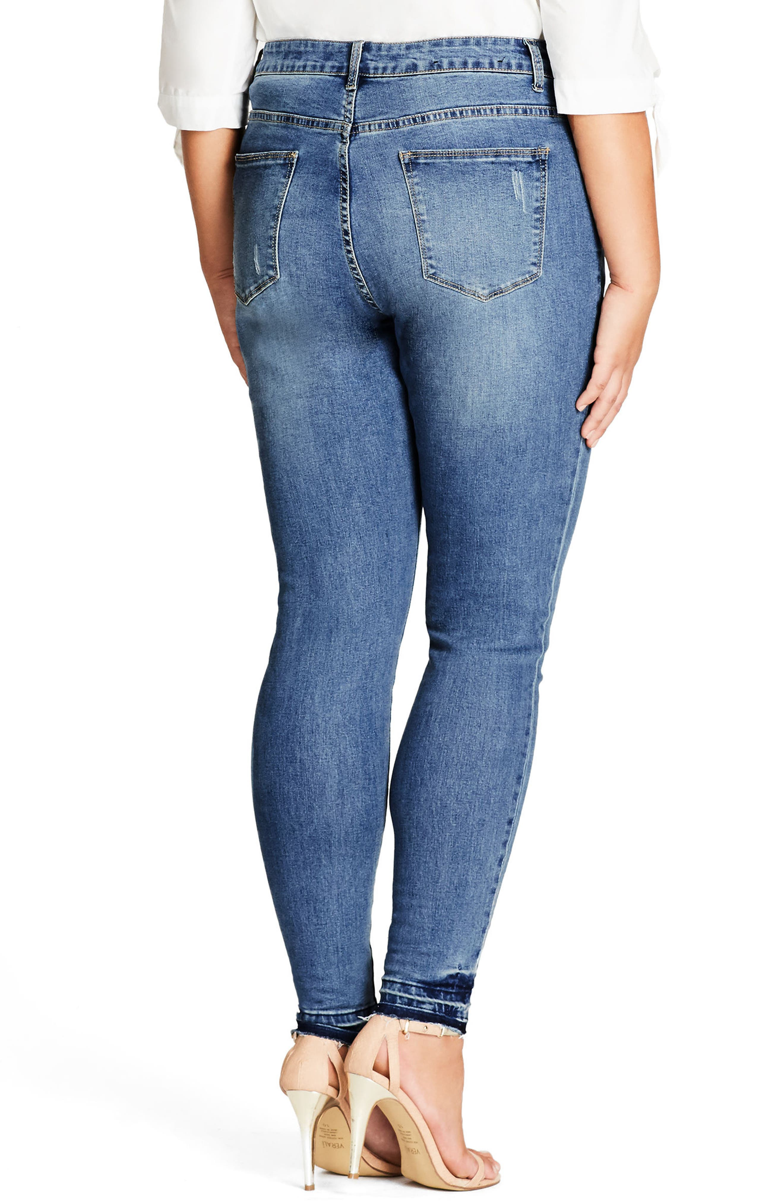 Patched Released Hem Skinny Jeans,                             Alternate thumbnail 2, color,                             400