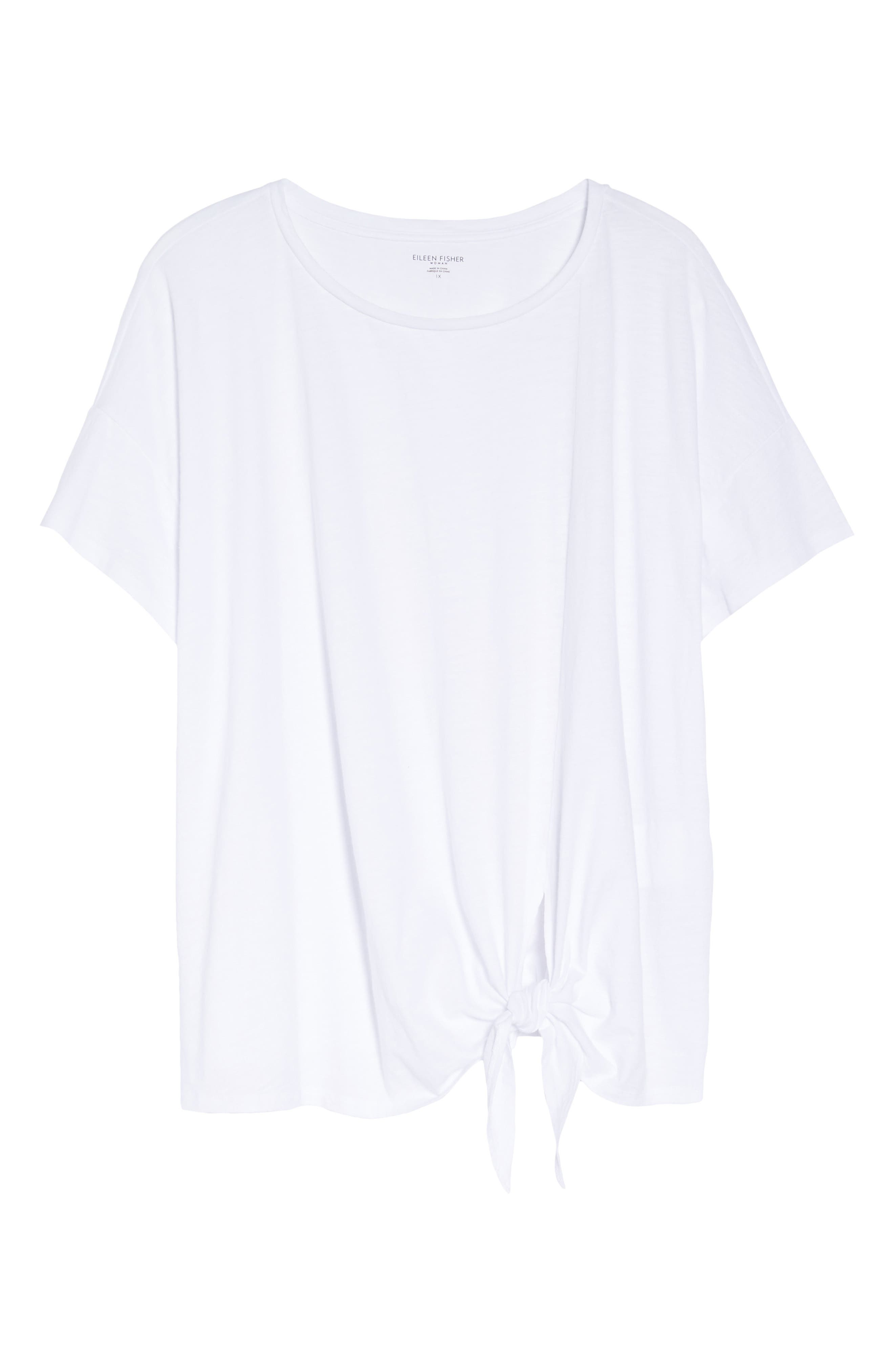 Tie Hem Organic Cotton Tee,                             Alternate thumbnail 7, color,                             100