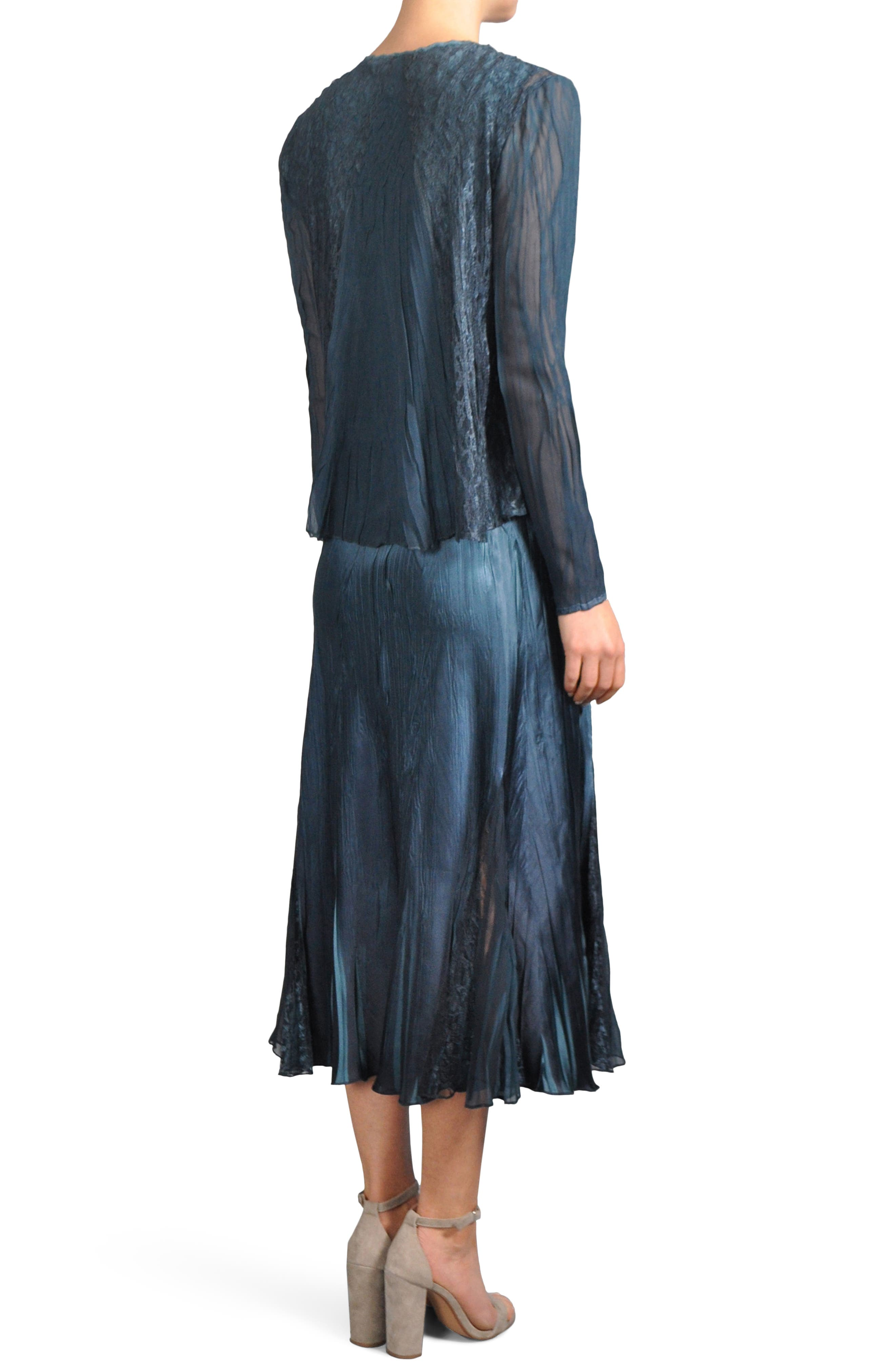 Lace Inset Midi Dress with Jacket,                             Alternate thumbnail 2, color,                             419