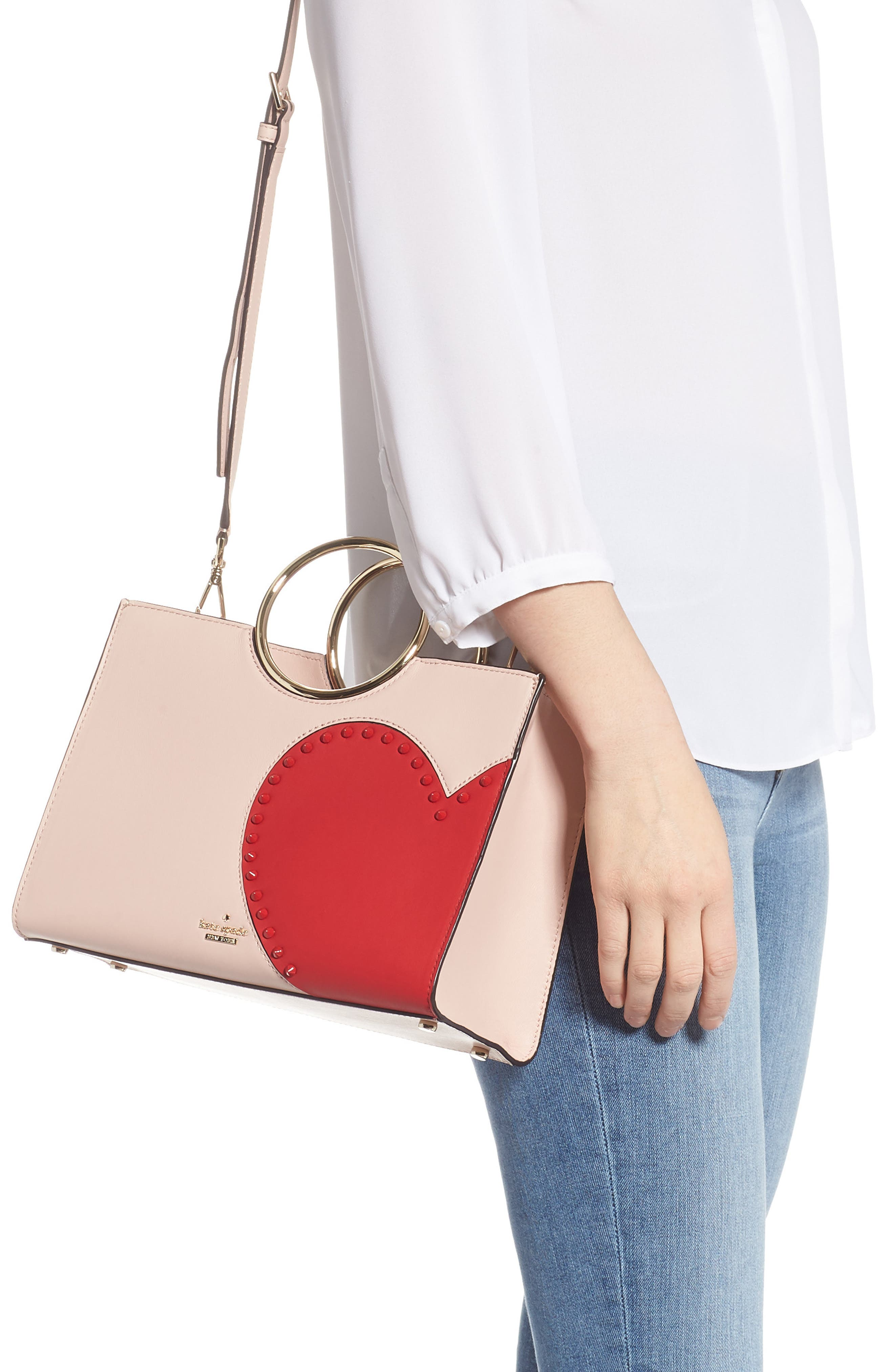 KATE SPADE NEW YORK,                             heart it - sam leather satchel,                             Alternate thumbnail 2, color,                             650