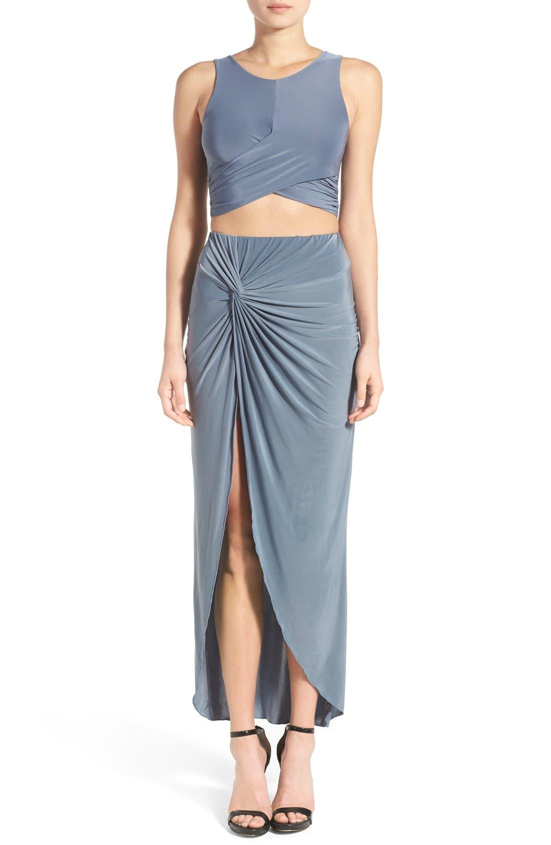 Knot Maxi Skirt,                             Alternate thumbnail 4, color,                             400