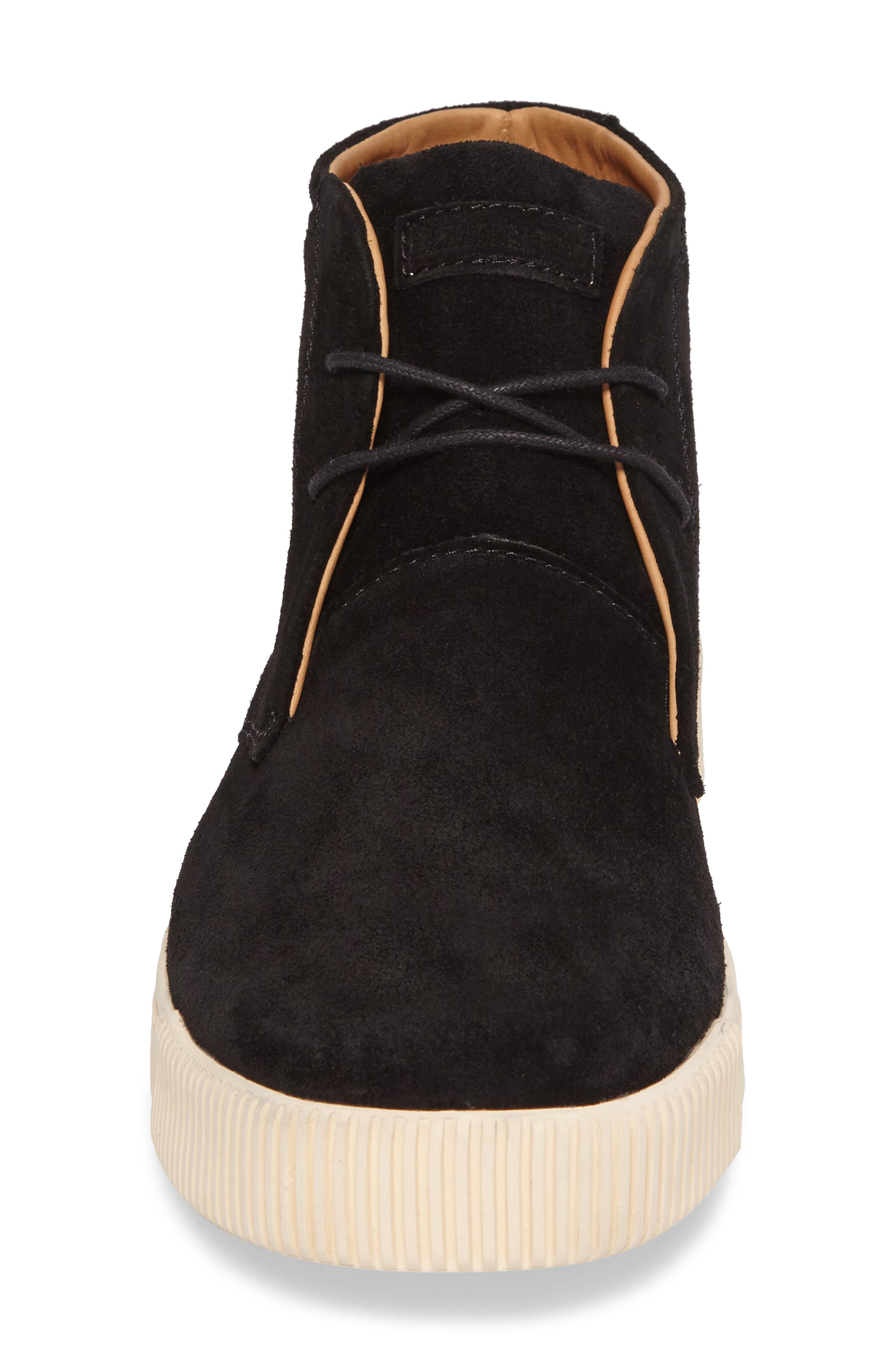 Lyons Chukka Sneaker,                             Alternate thumbnail 4, color,                             BLACK SUEDE
