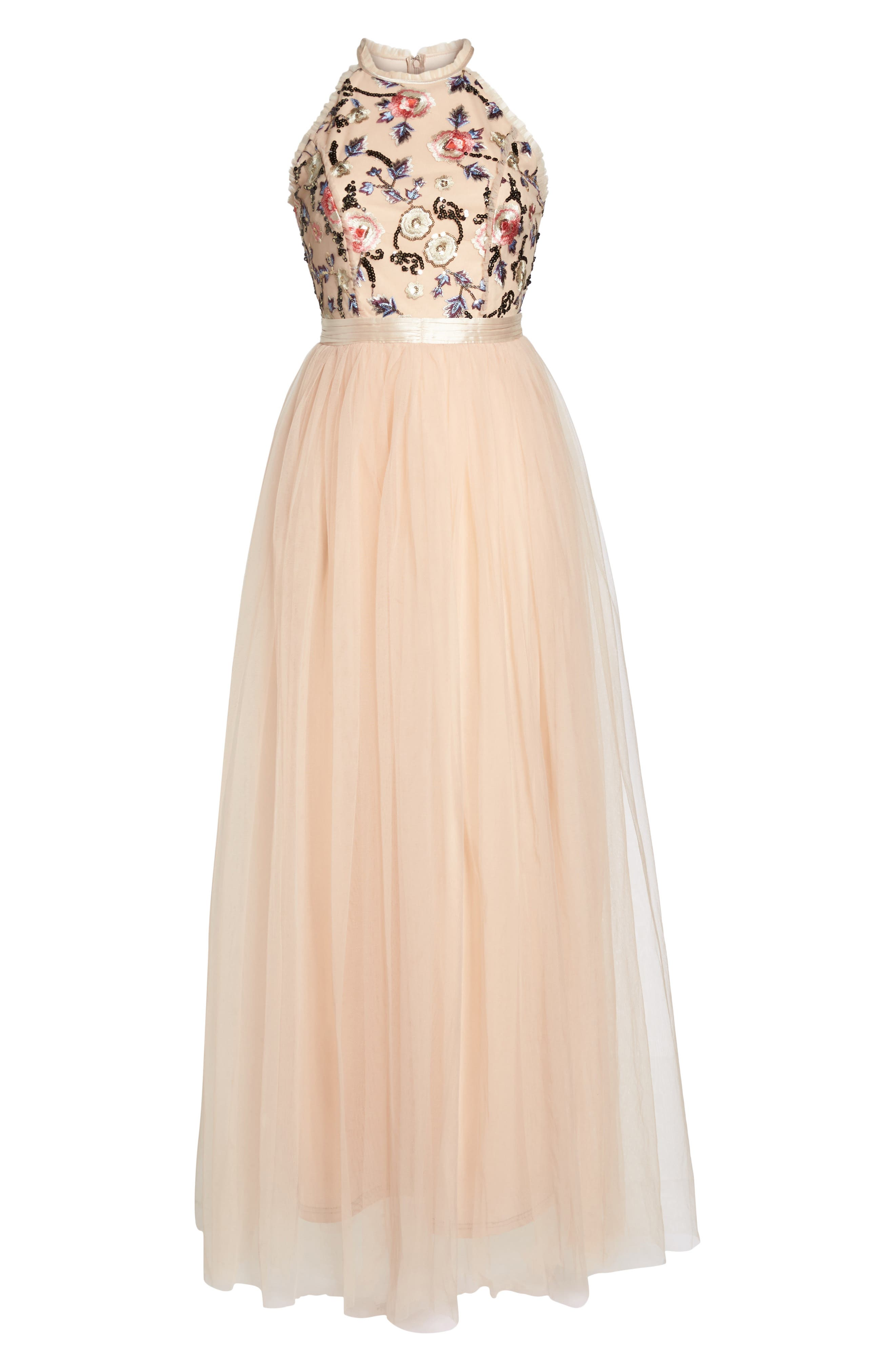 Cydney Sequin Bodice Gown,                             Alternate thumbnail 8, color,                             NUDE