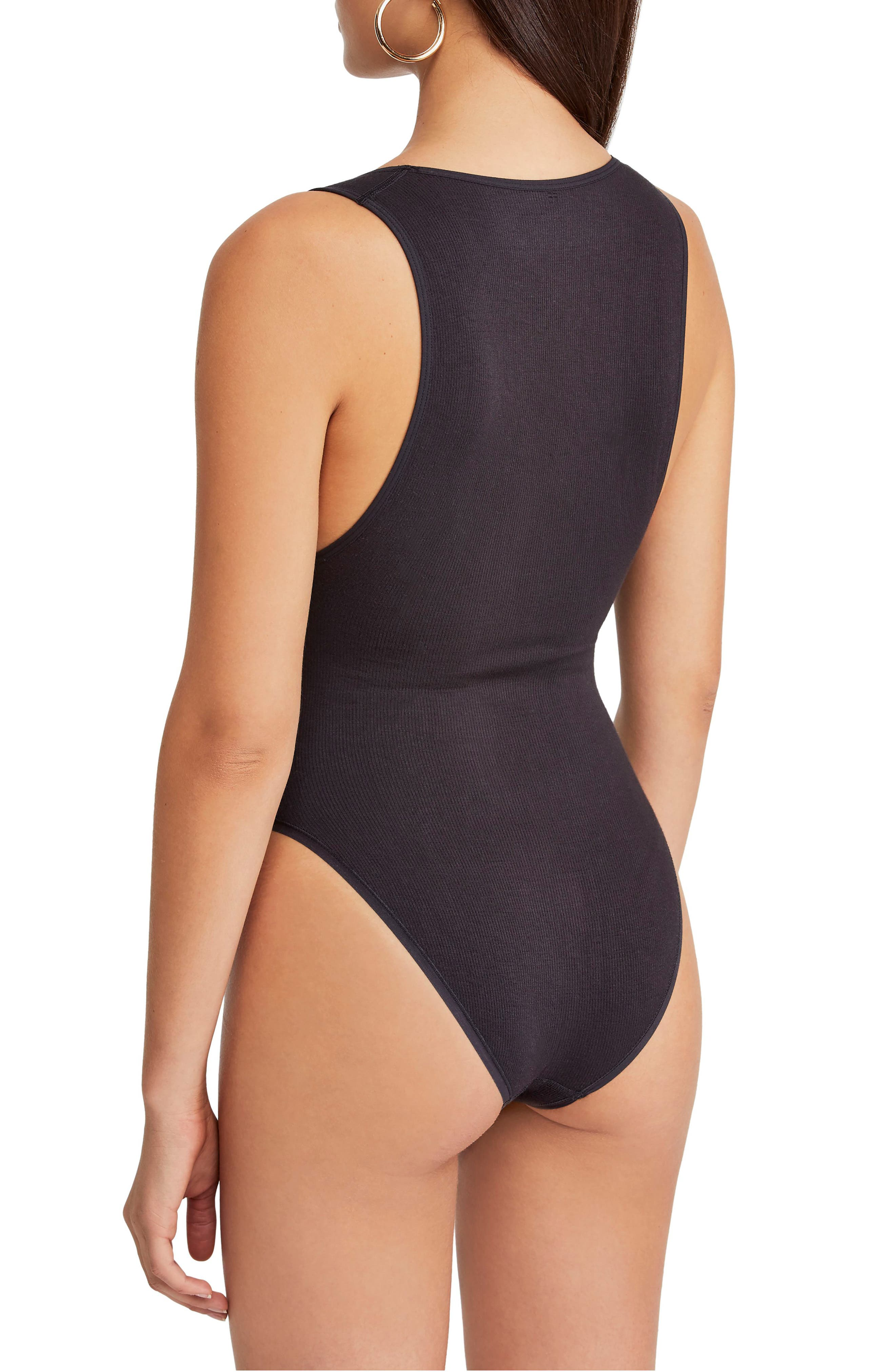 Urban Outfitters Seamless Bodysuit,                             Alternate thumbnail 3, color,                             BLACK