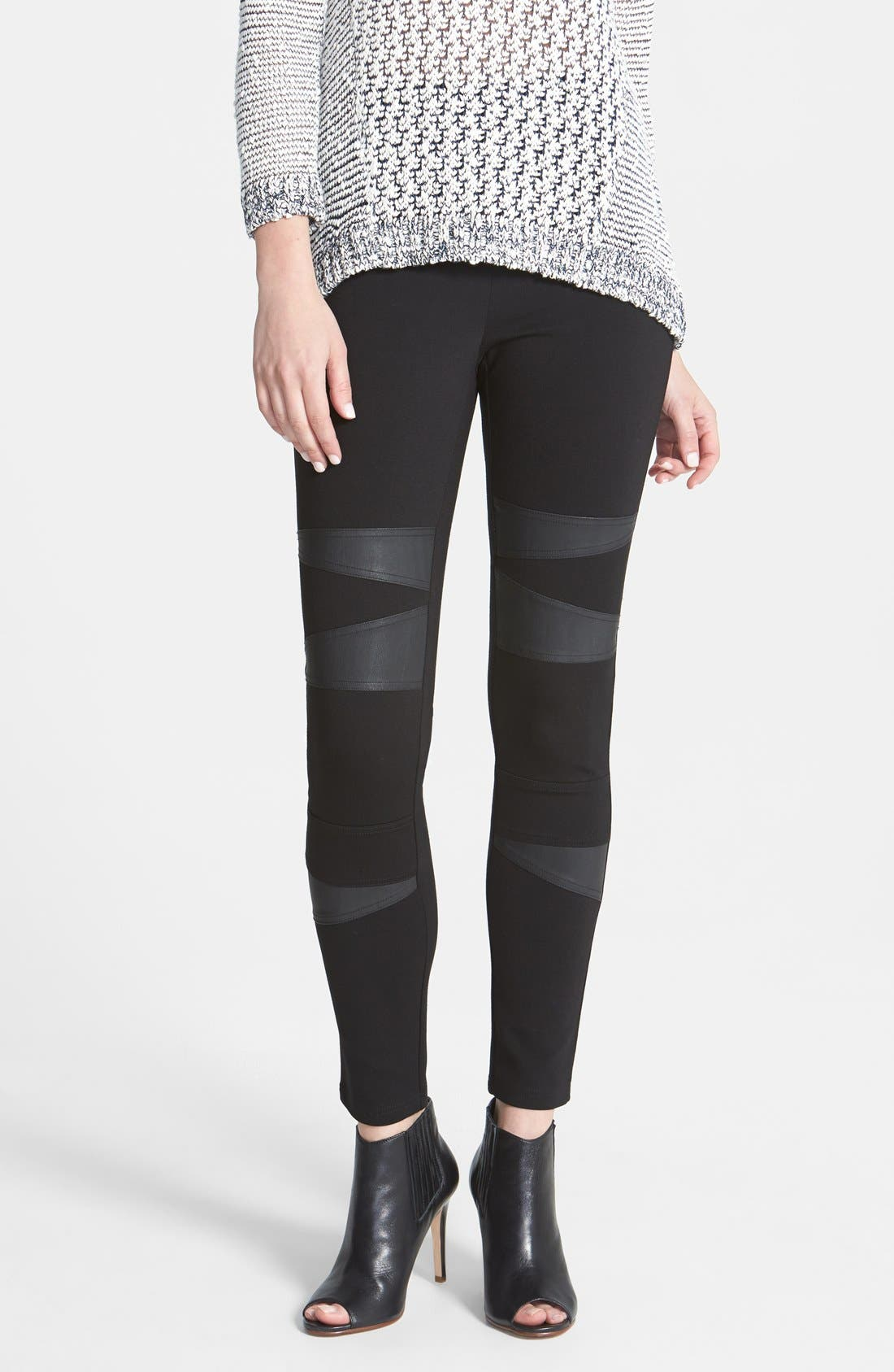 Two by Vince Camuto Faux Leather Trim Moto Leggings,                             Main thumbnail 1, color,