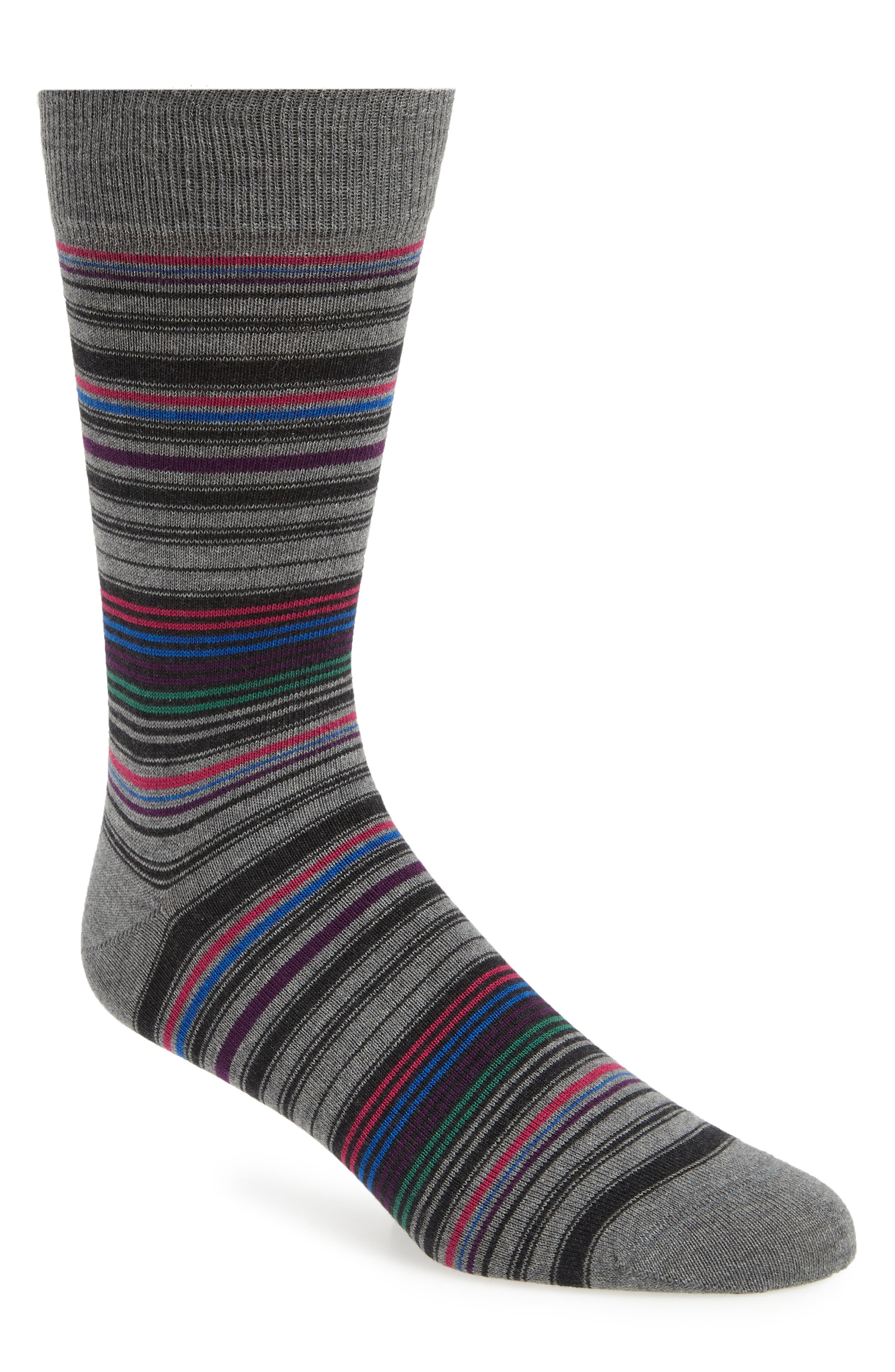 BUGATCHI,                             Stripe Socks,                             Main thumbnail 1, color,                             STEEL
