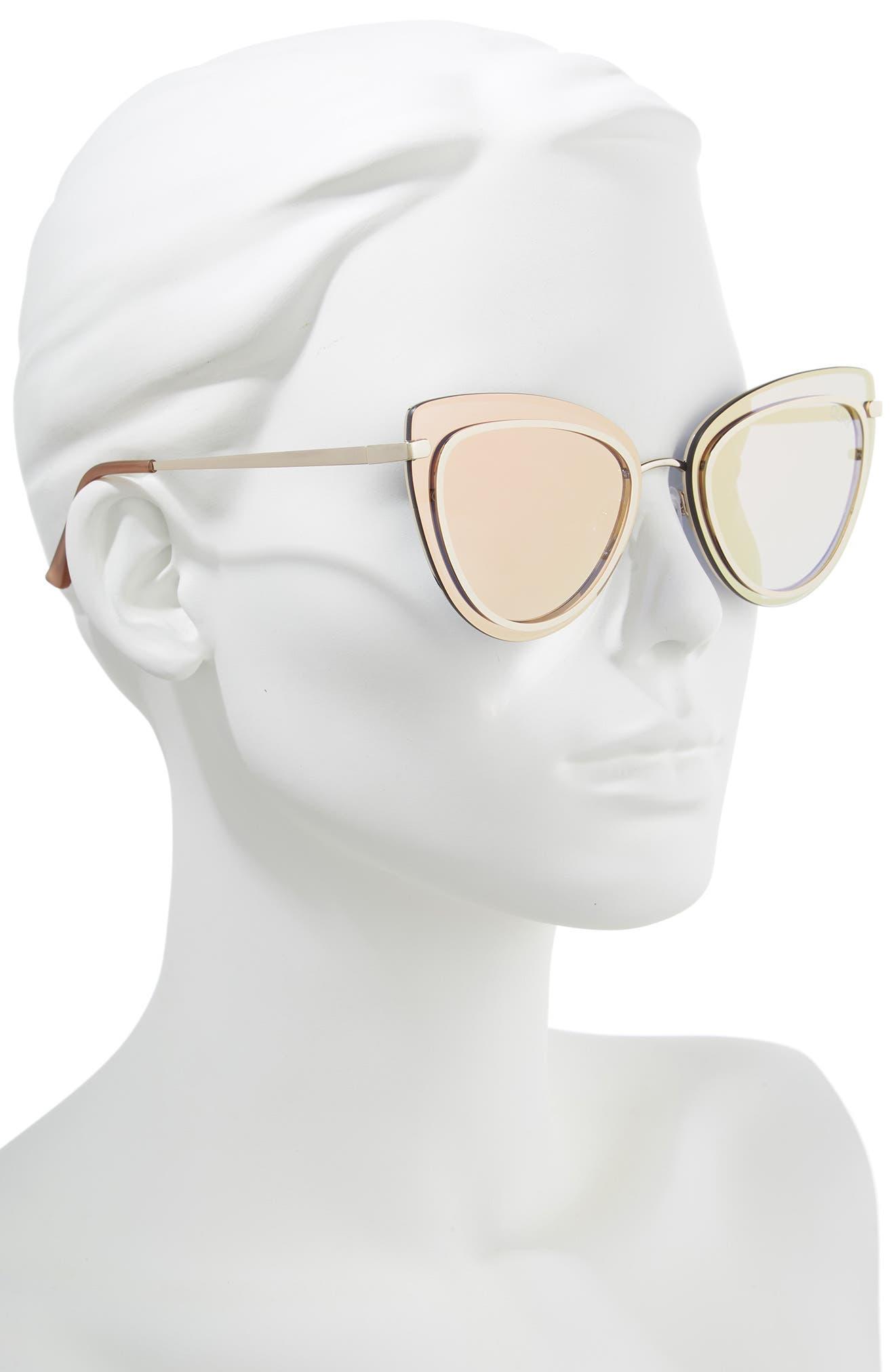 Primrose 55mm Cat Eye Sunglasses,                             Alternate thumbnail 2, color,                             GOLD/ ROSE