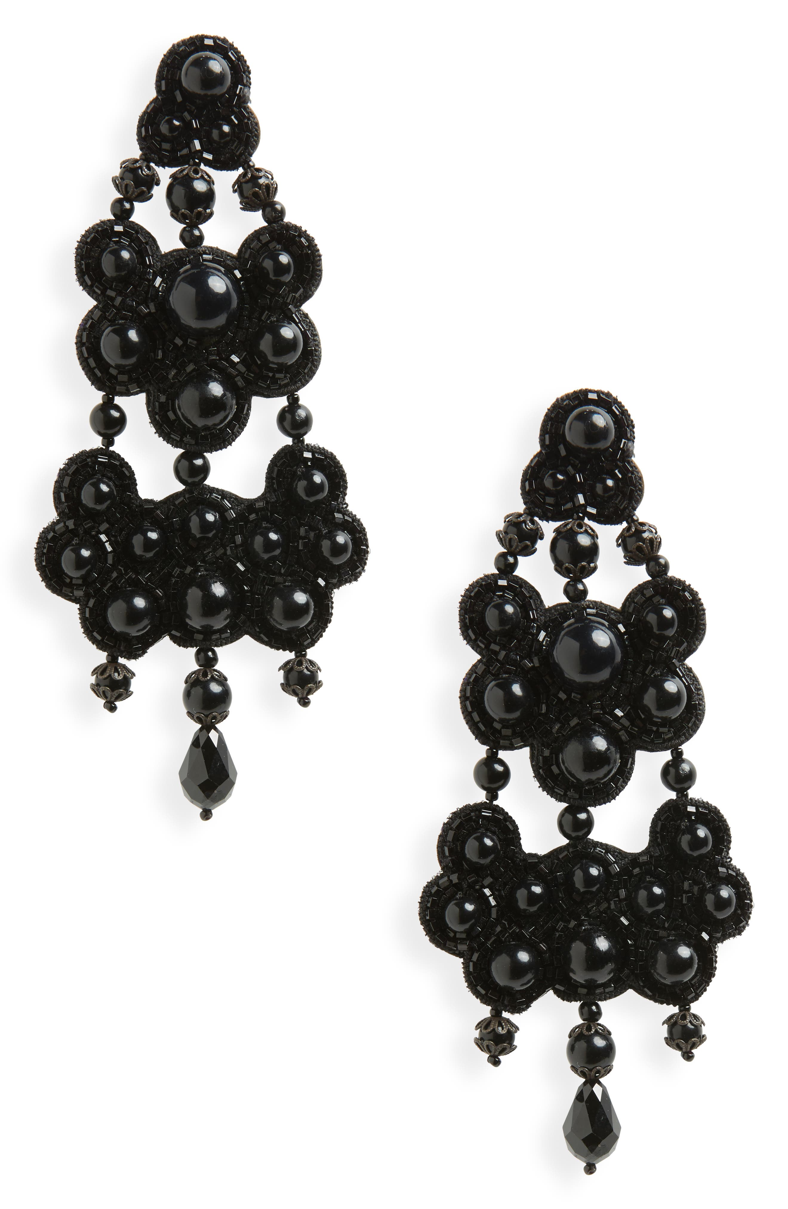 TORY BURCH,                             Beaded Chandelier Drop Earrings,                             Main thumbnail 1, color,                             001