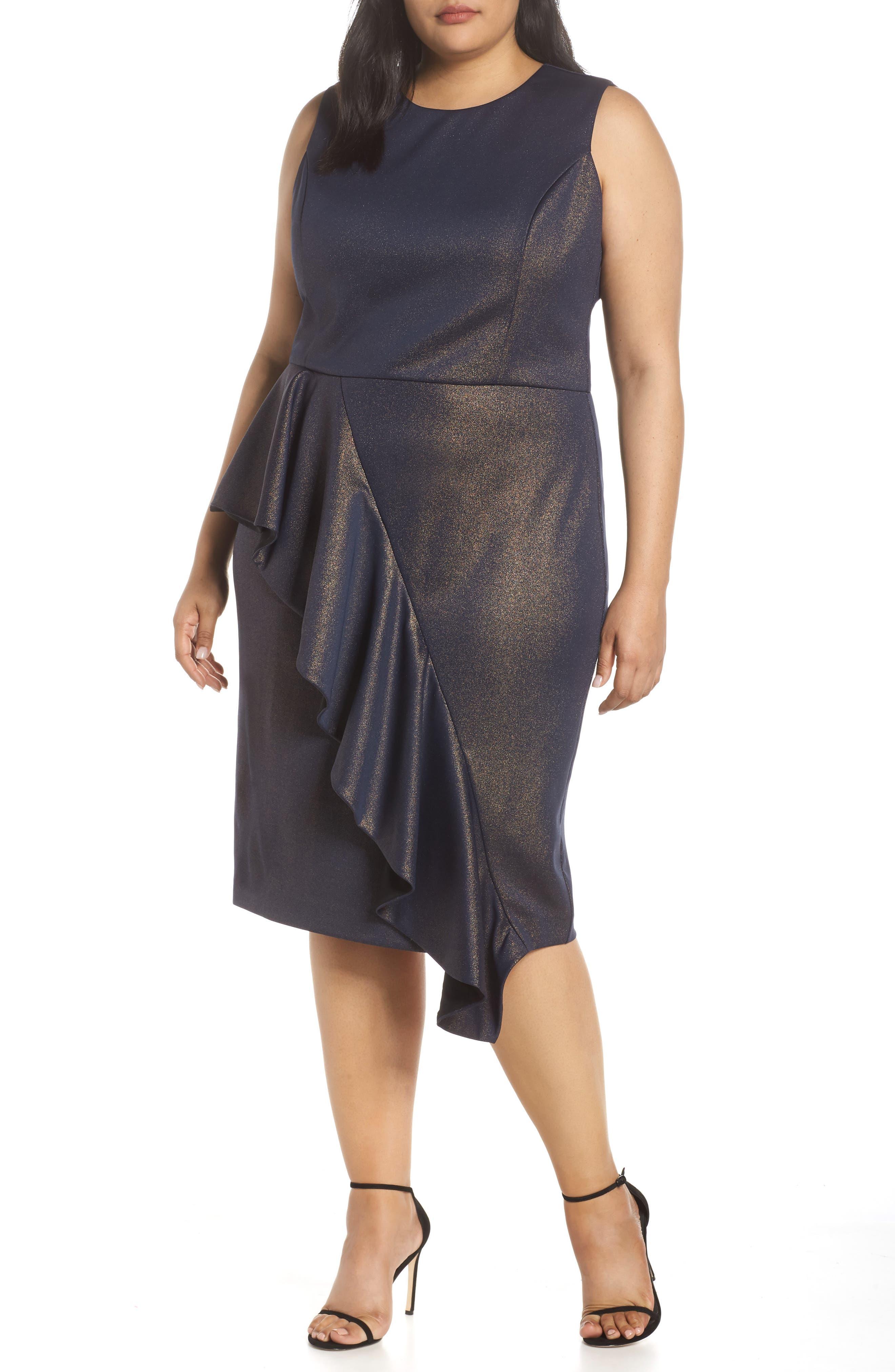 Plus Size Rachel Rachel Roy Metallic Ruffle Sheath Dress, Blue