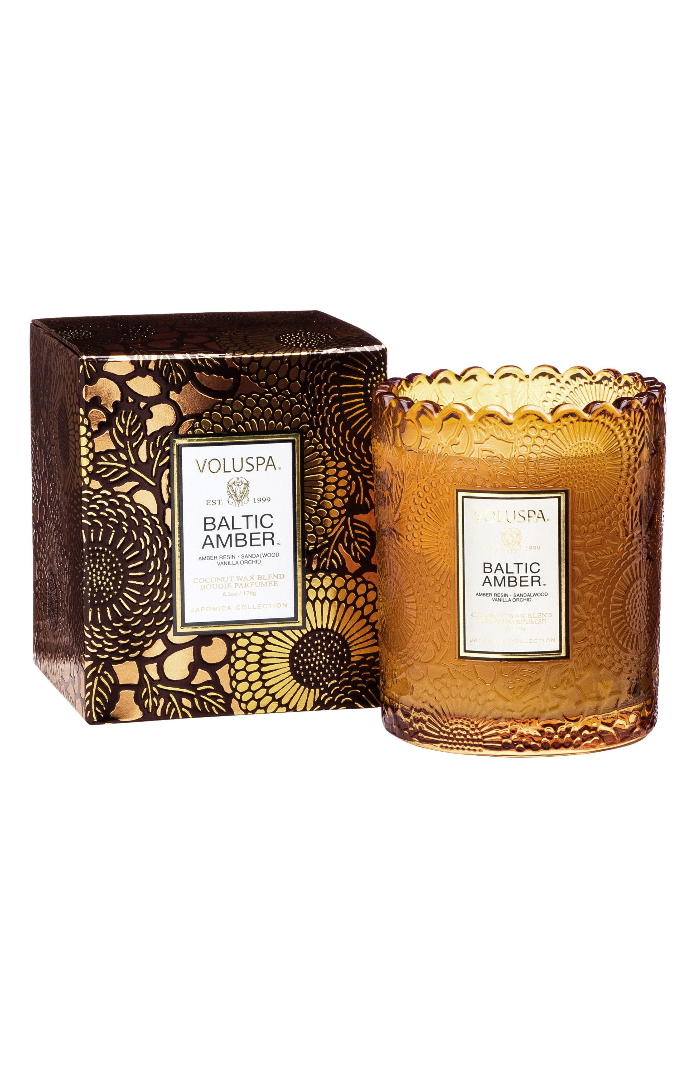 Japonica Baltic Amber Scalloped Edge Embossed Glass Candle,                             Alternate thumbnail 2, color,                             NO COLOR