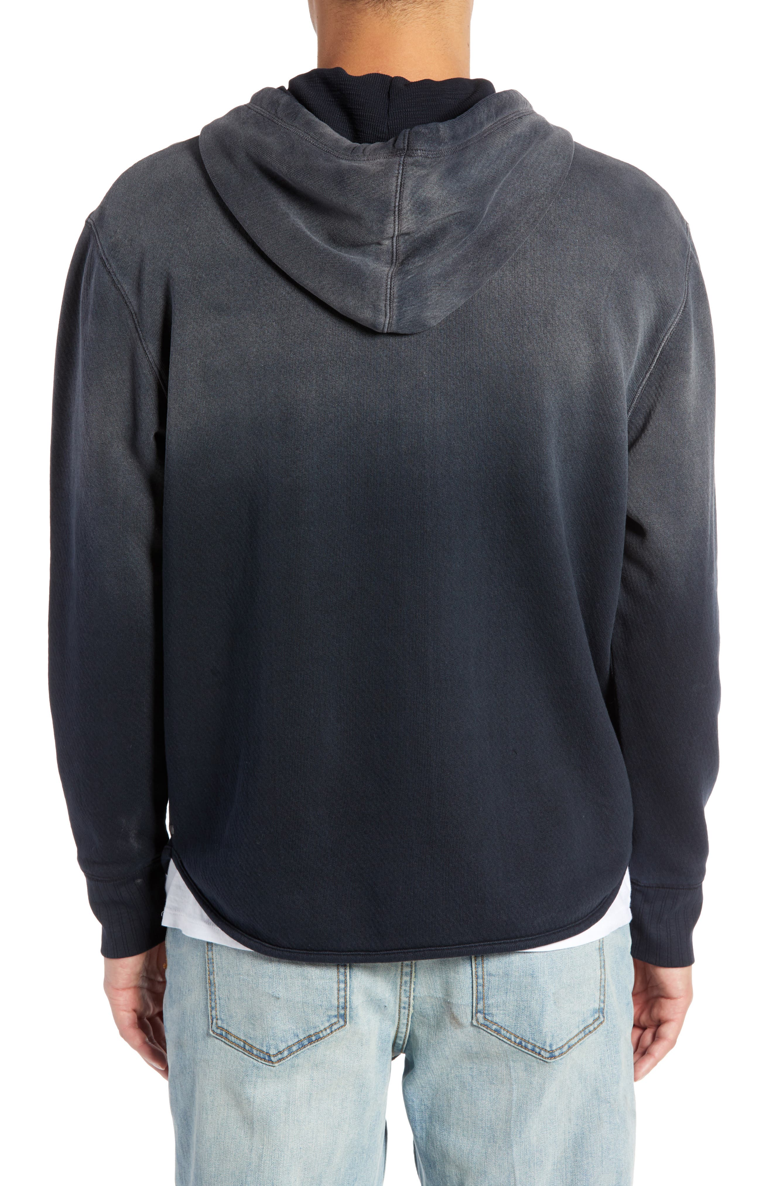 Ombré French Terry Zip Hoodie,                             Alternate thumbnail 2, color,                             BLACK ROCK