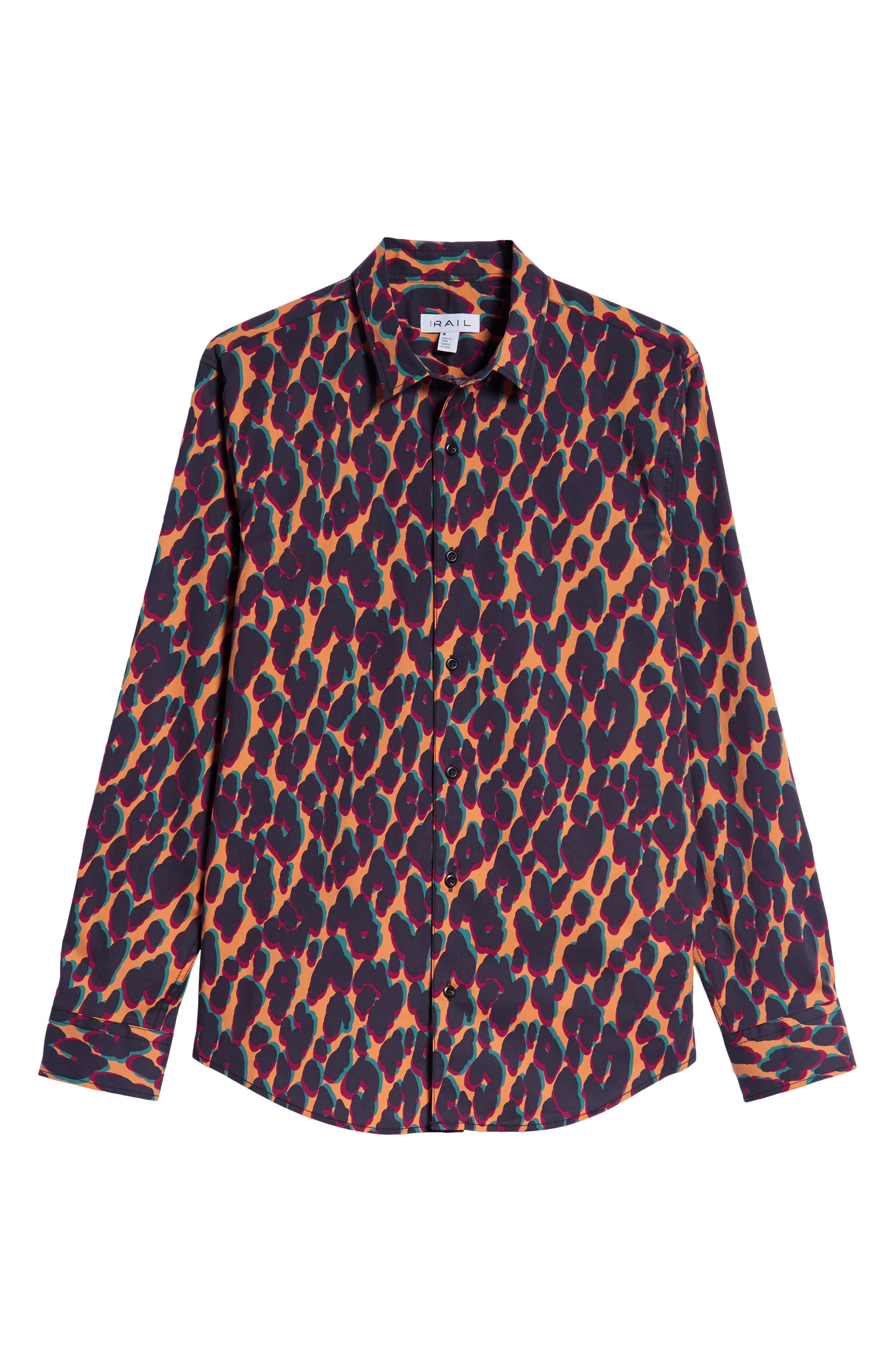 Leopard Print Sport Shirt,                             Alternate thumbnail 6, color,                             ORANGE LEOPARD OFFSET