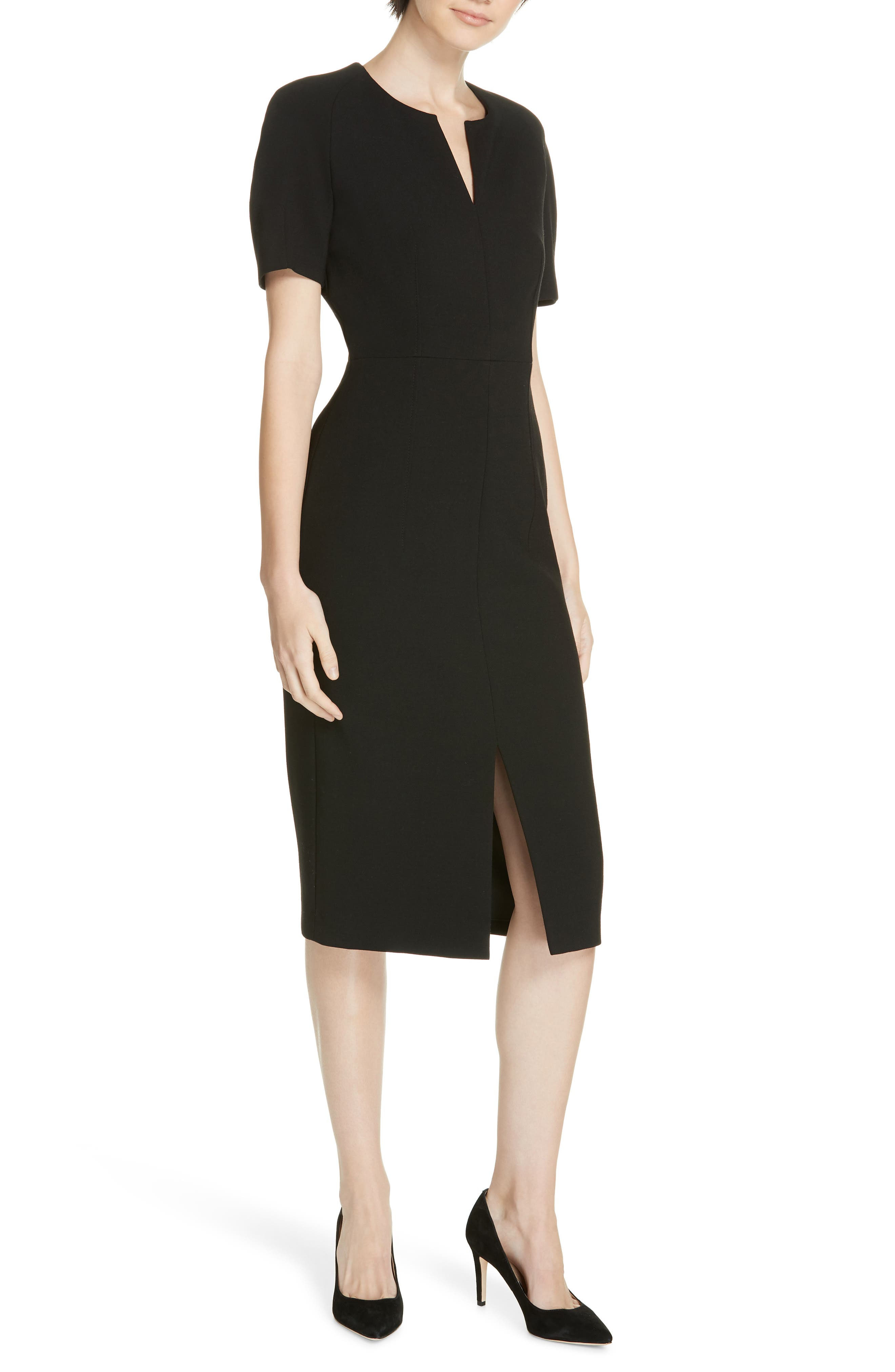 Boss Darera Short Sleeve Ponte Sheath Dress, Size Black