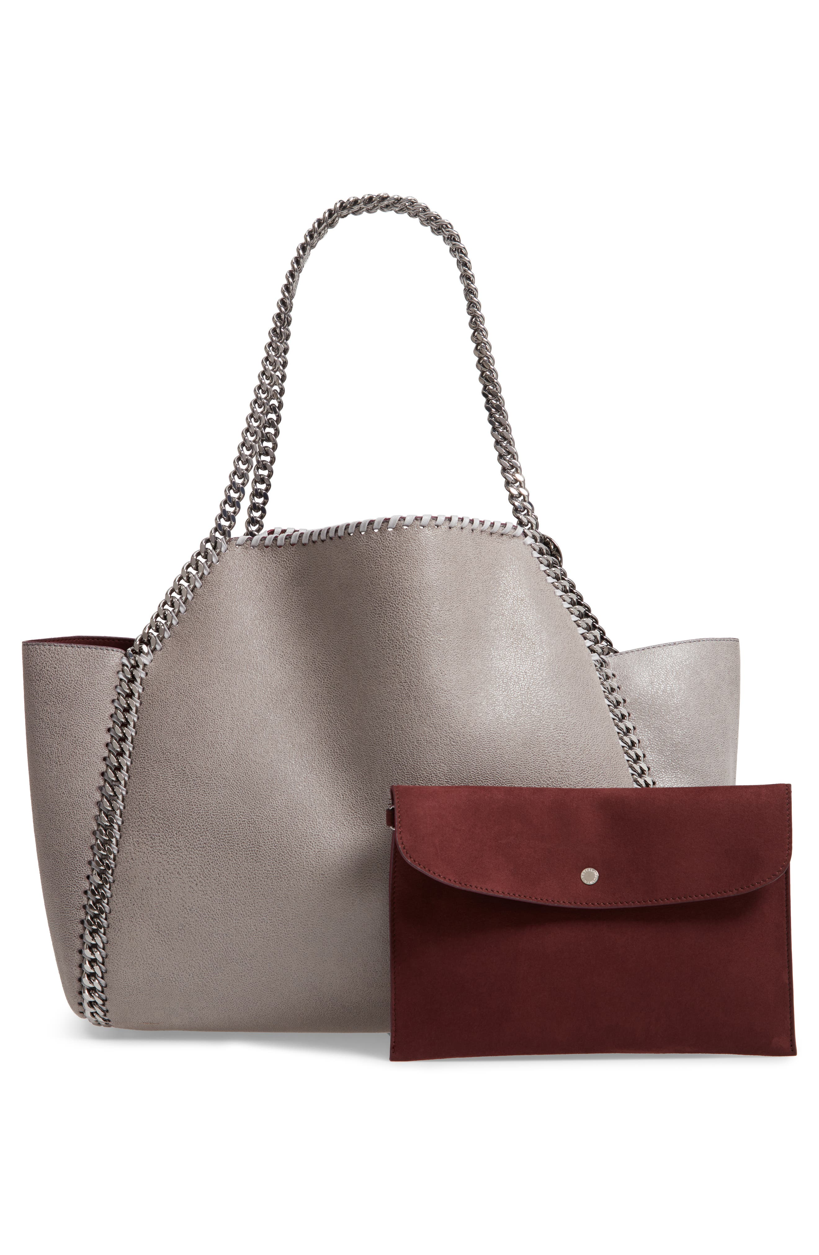 Small Oleo Deer Reversible Faux Leather Tote,                             Alternate thumbnail 4, color,                             LIGHT GREY