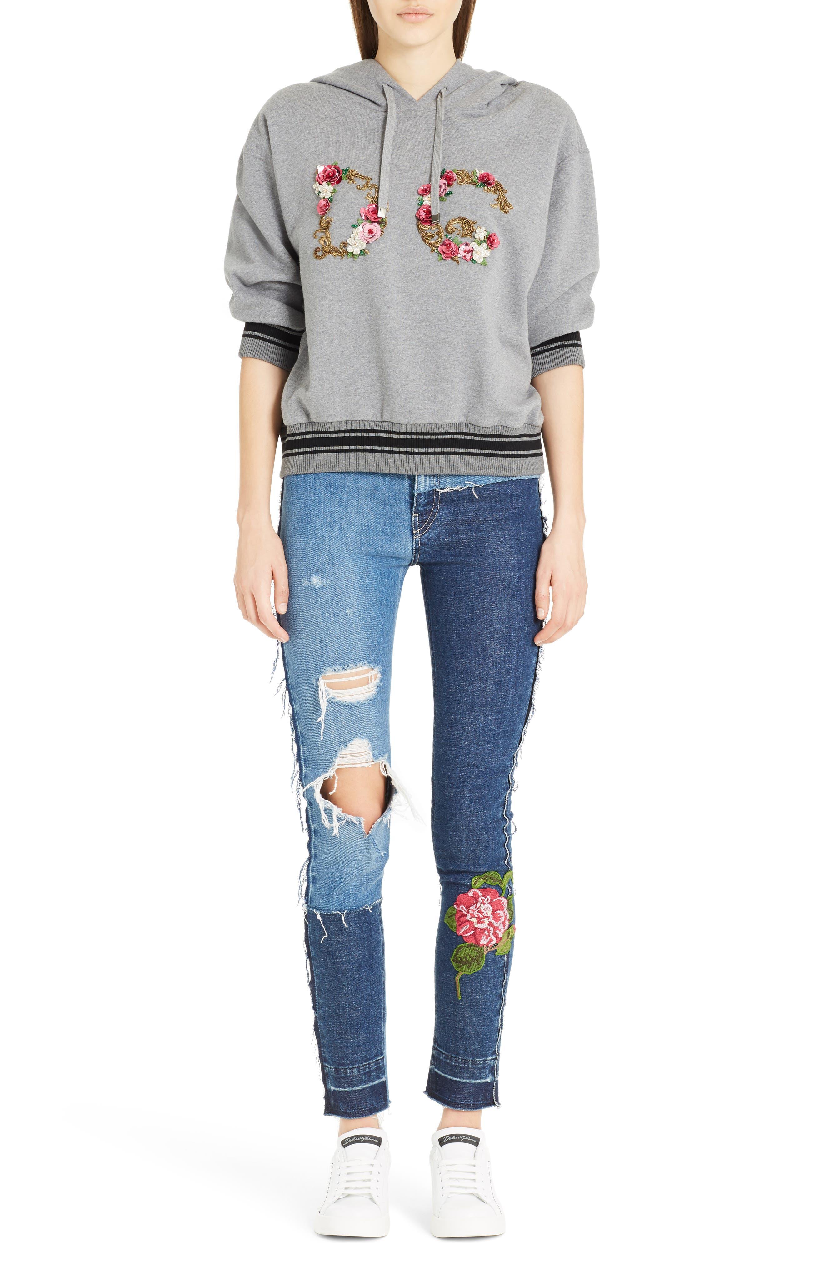 Embellished Patchwork Skinny Jeans,                             Alternate thumbnail 6, color,                             410