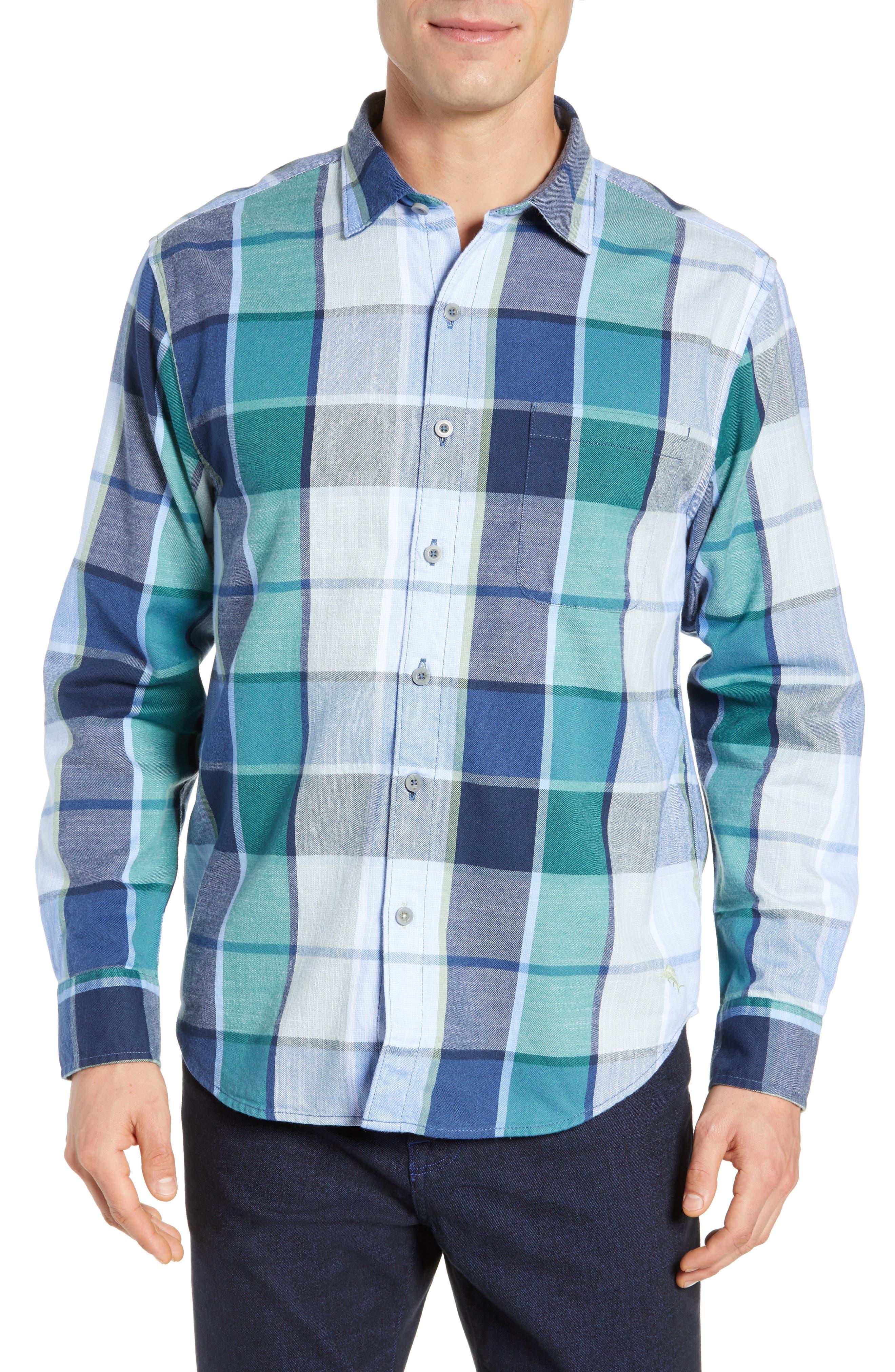 Heredia Plaid Sport Shirt,                         Main,                         color, ZEPHYR BLUE