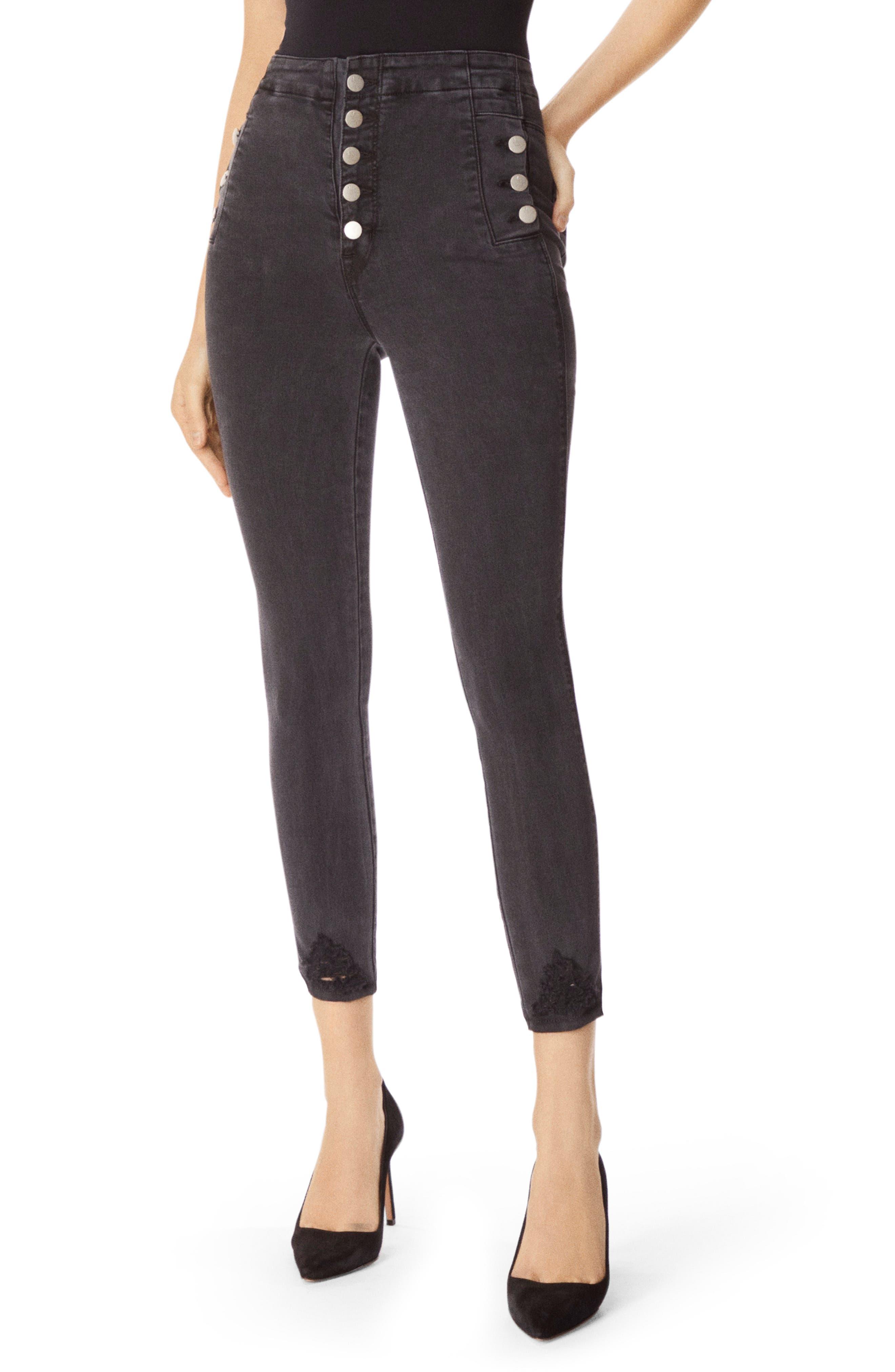 Natasha Sky-High Crop Skinny Jeans With Destroyed Hem in Bellatrix Destruct