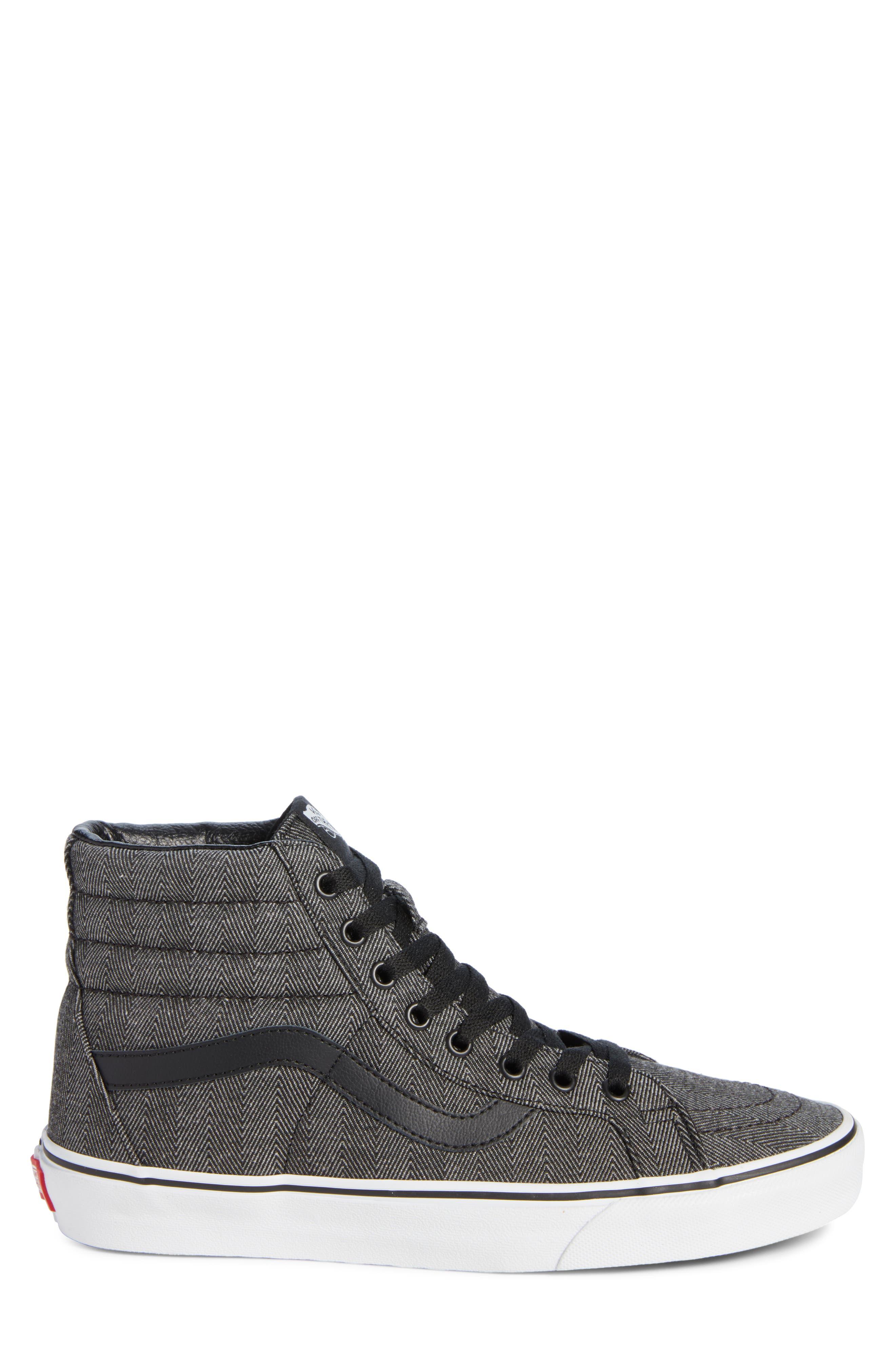 SK8-Hi Reissue High Top Sneaker,                             Alternate thumbnail 3, color,                             BLACK/ TRUE WHITE