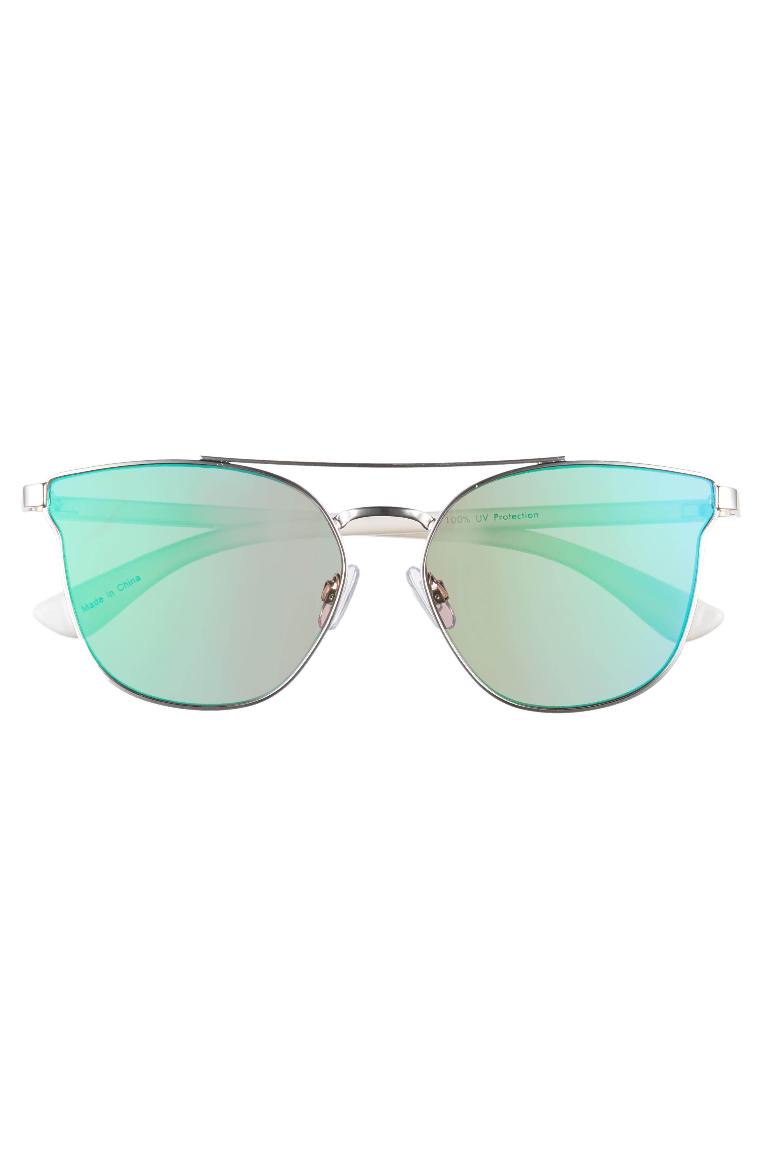 BP.,                             56mm Flat Mirrored Aviator Sunglasses,                             Alternate thumbnail 3, color,                             100