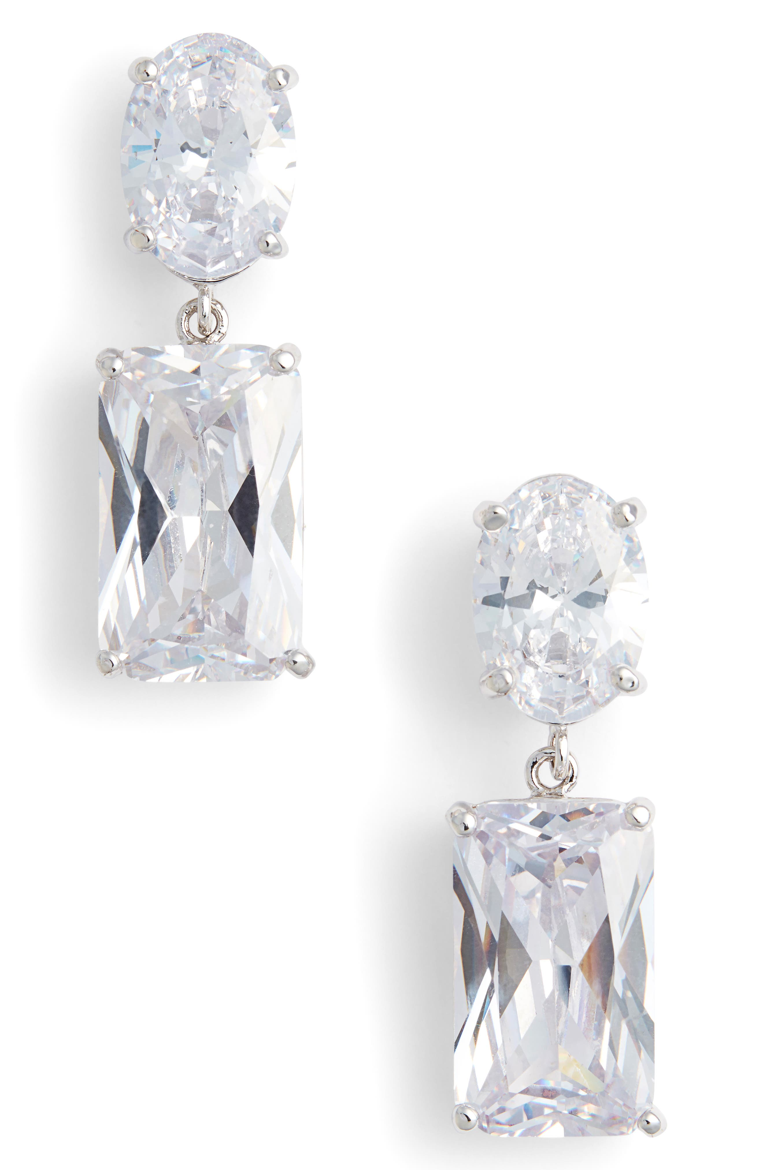 Rock Candy Drop Earrings,                         Main,                         color, SILVER/ WHITE CZ