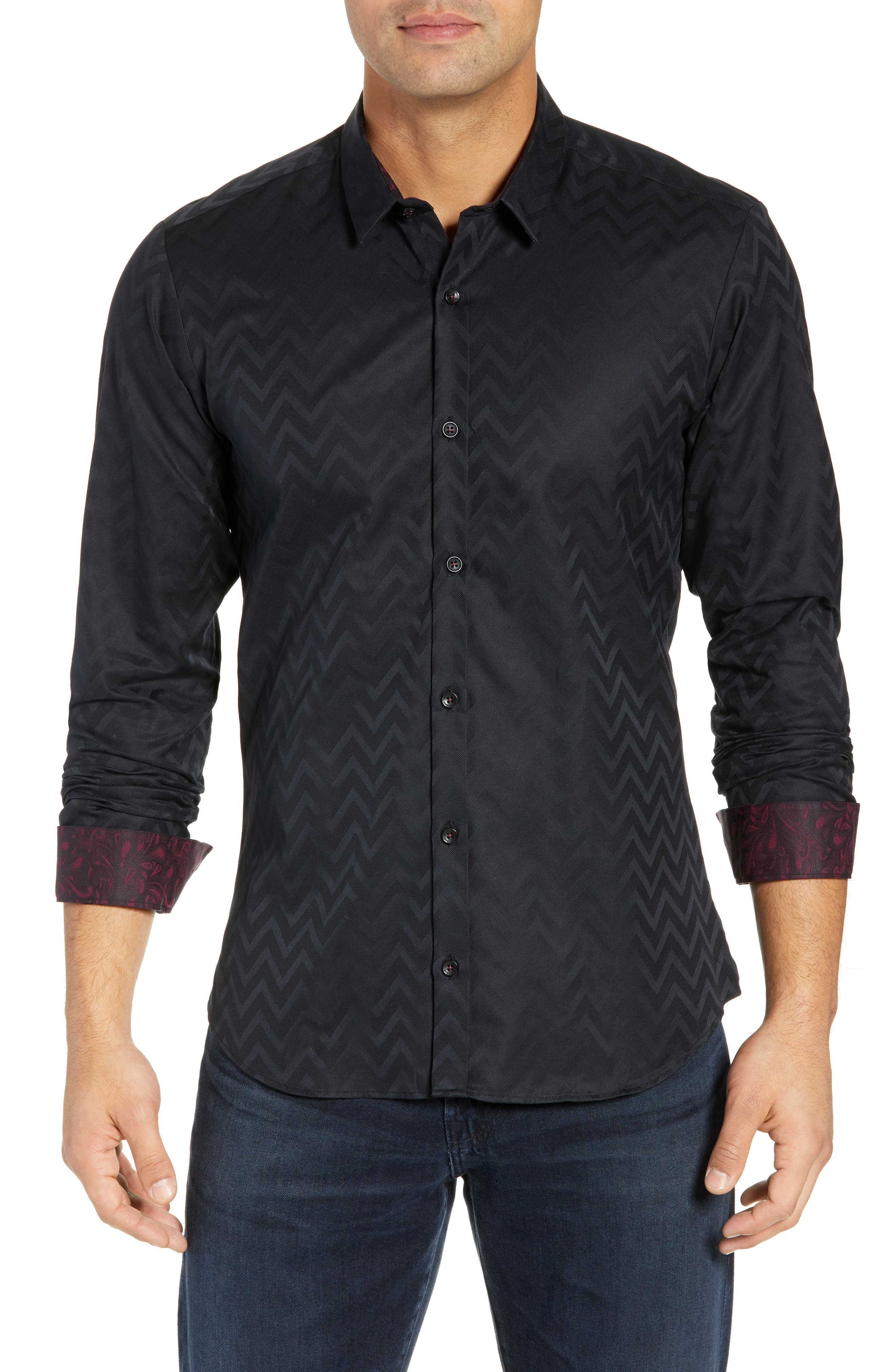 JARED LANG Trim Fit Chevron Sport Shirt in Black