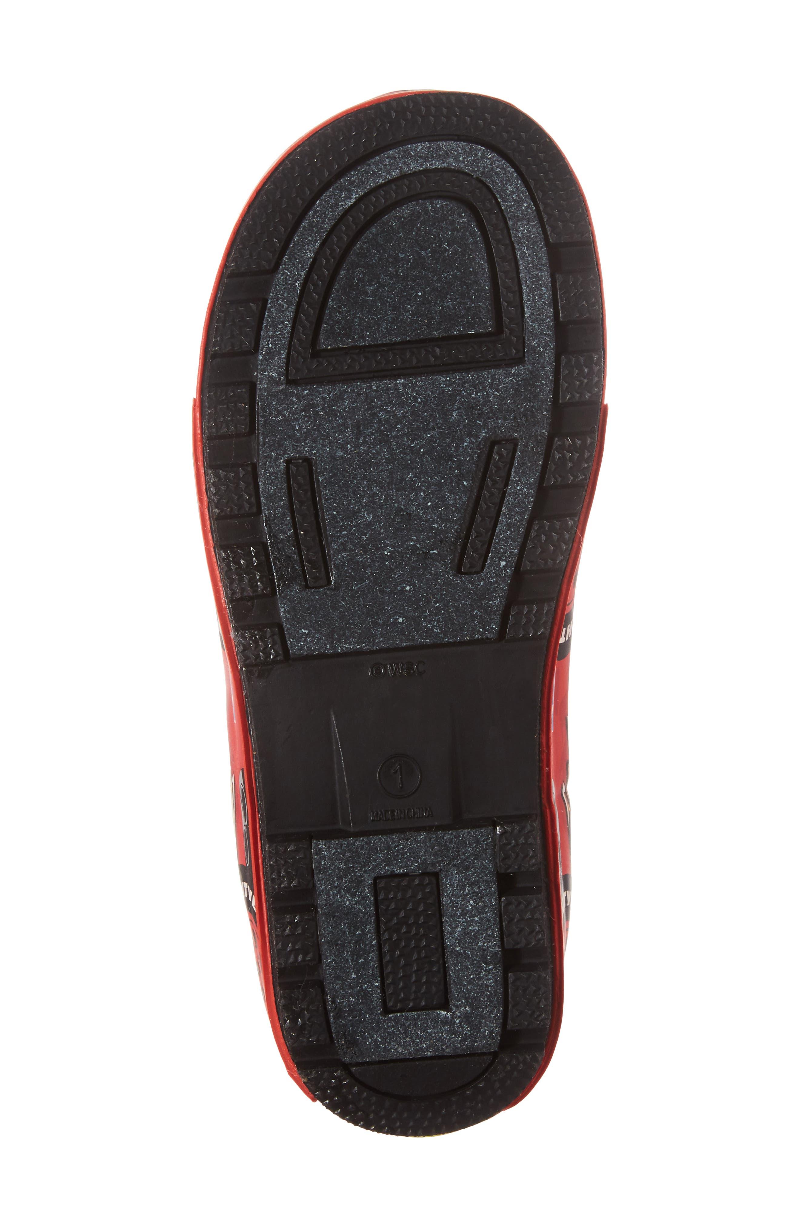 Lightning McQueen Waterproof Rain Boot,                             Alternate thumbnail 6, color,                             RED