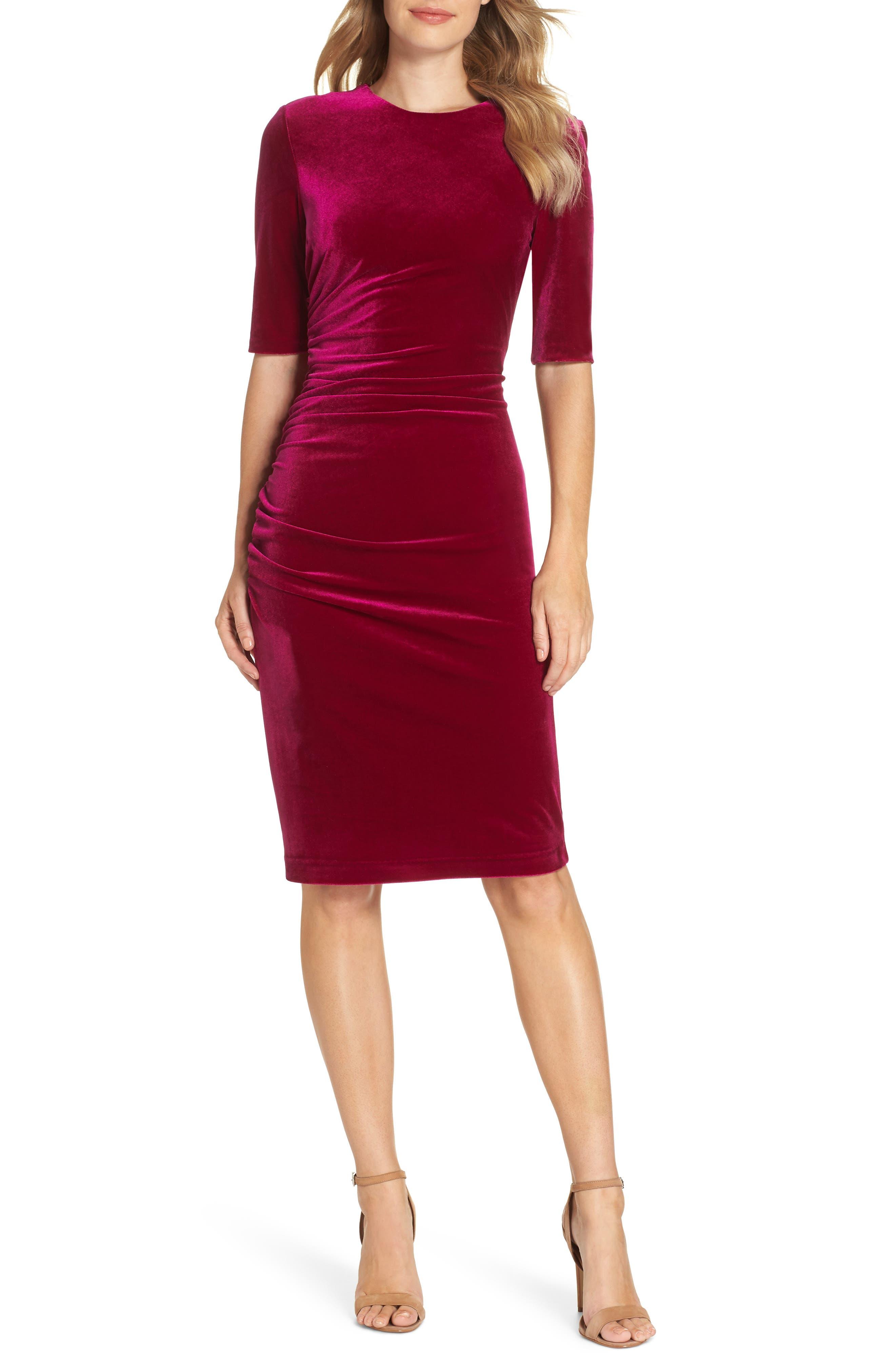 Elbow Sleeve Velvet Sheath Dress,                             Main thumbnail 1, color,                             FUSCHIA