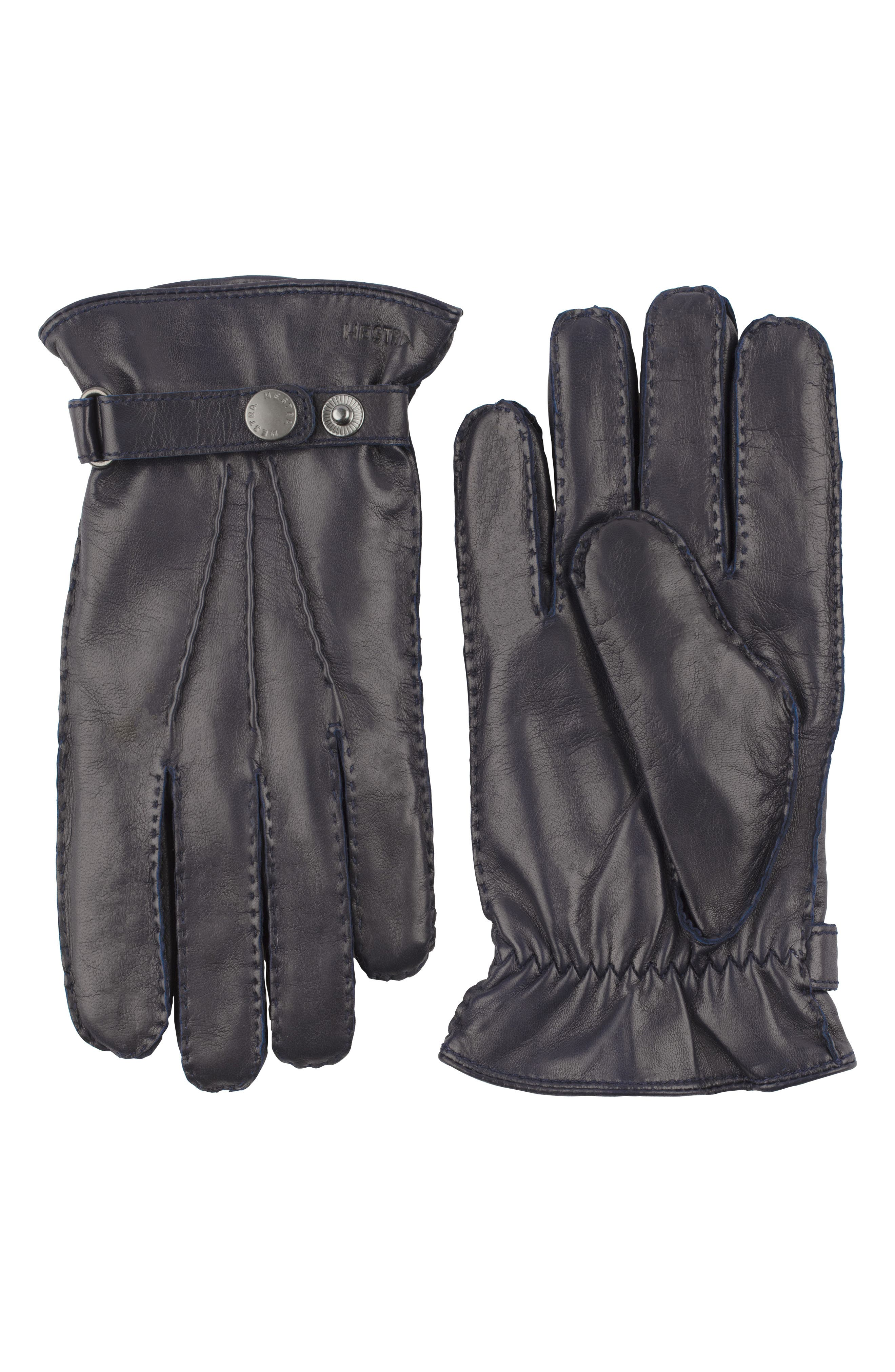 'Jake' Leather Gloves,                         Main,                         color, NAVY