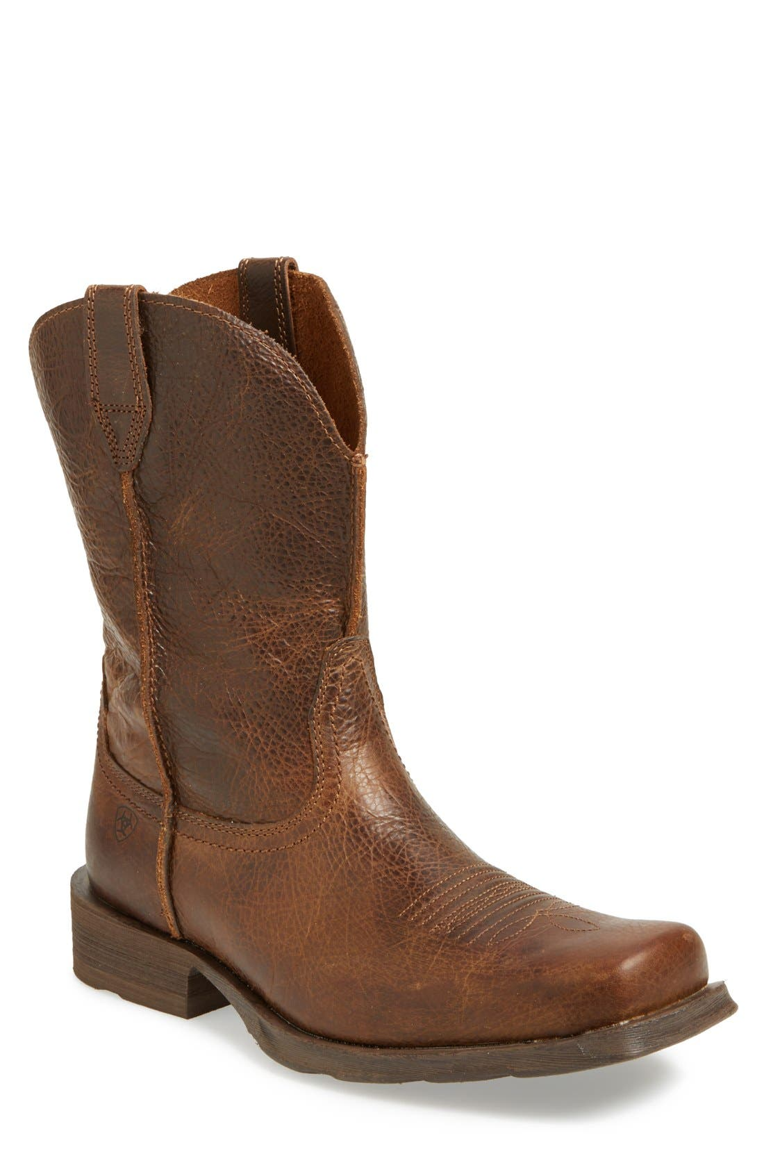 'Rambler' Square Toe Leather Cowboy Boot,                             Main thumbnail 1, color,                             BROWN