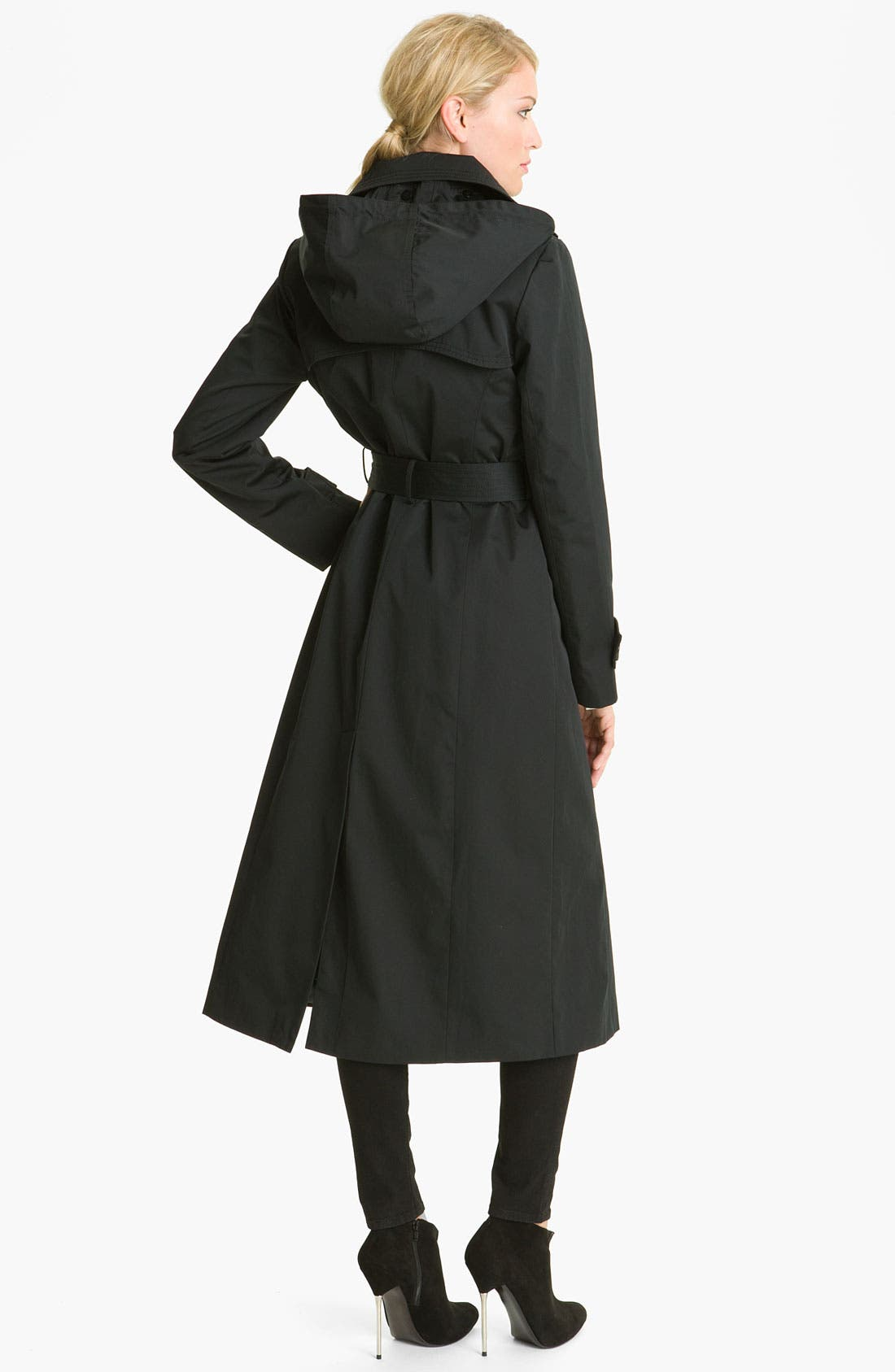 'Maxi' Detachable Hood Raincoat,                             Alternate thumbnail 3, color,                             001