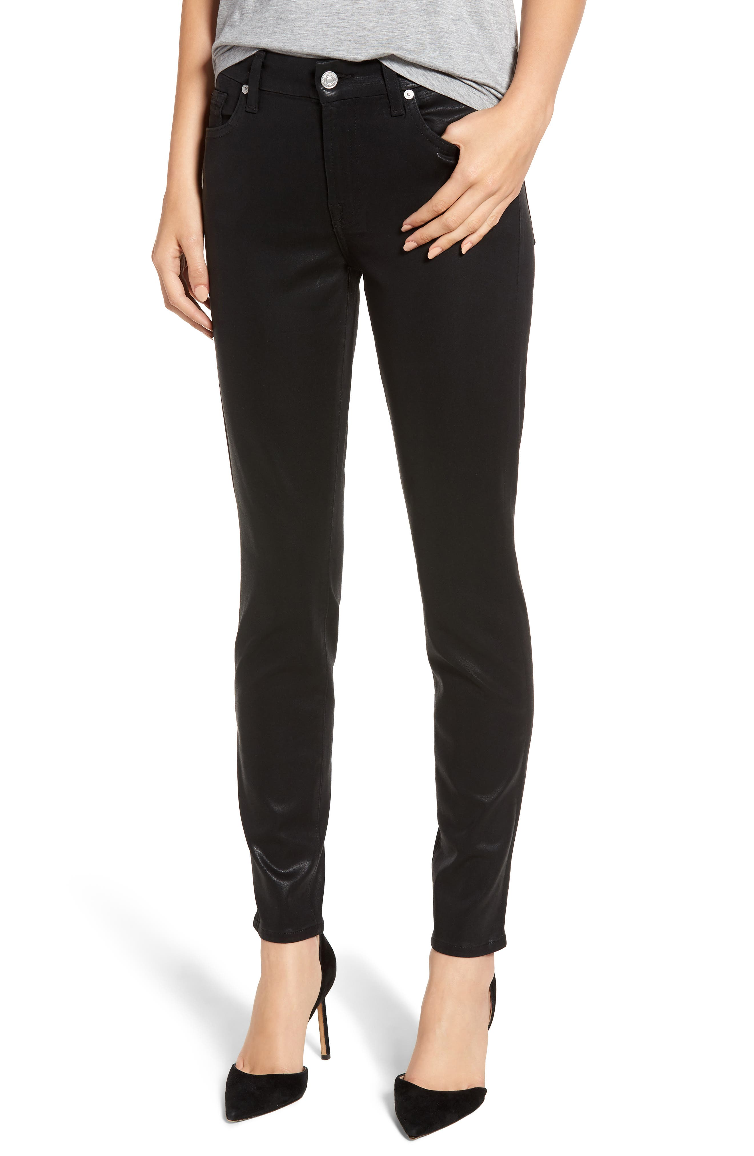 7 FOR ALL MANKIND<SUP>®</SUP>,                             b(air) Coated Ankle Skinny Jeans,                             Main thumbnail 1, color,                             BLACK COATED