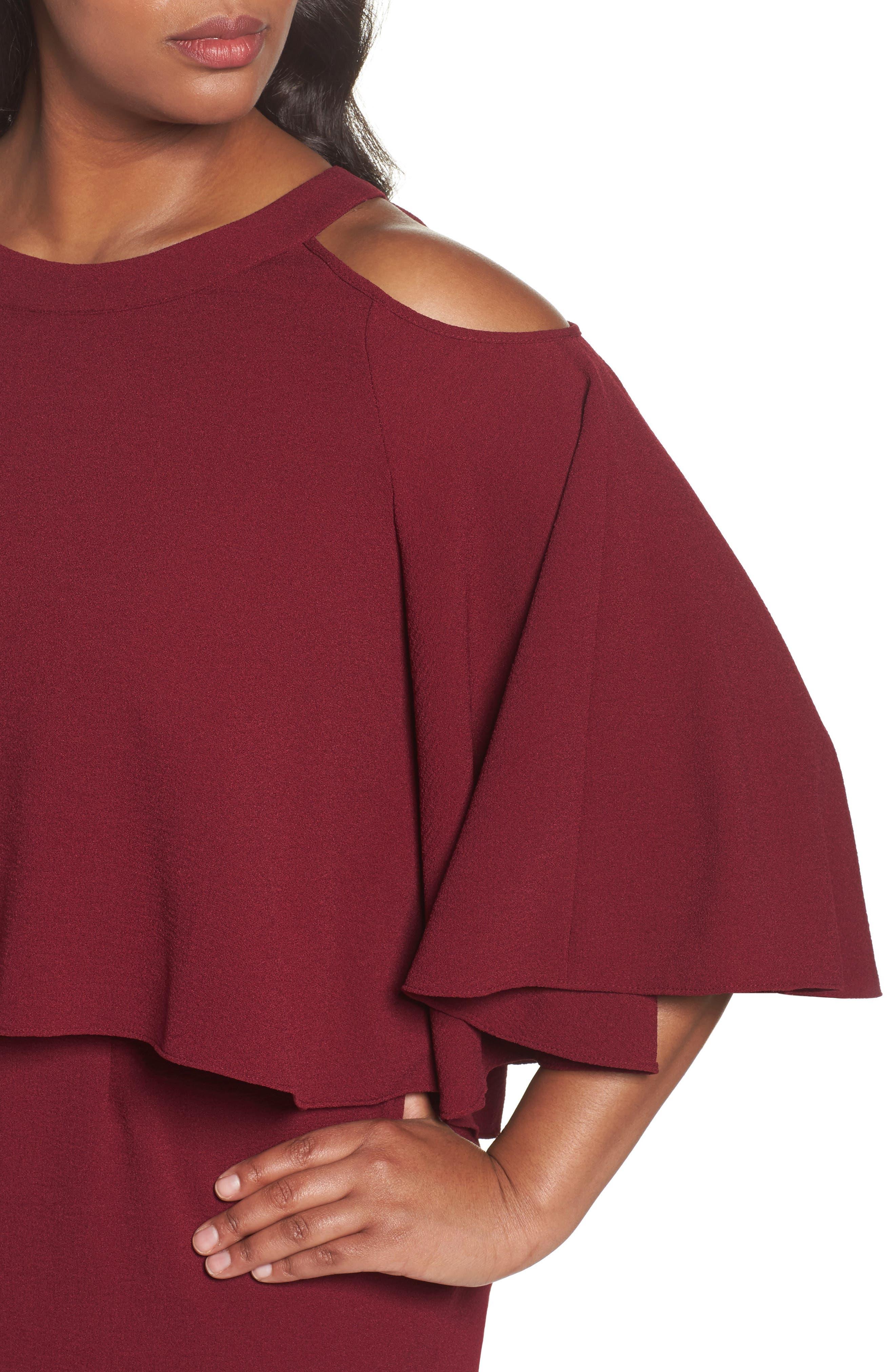 Cold Shoulder Crepe Sheath Dress,                             Alternate thumbnail 8, color,
