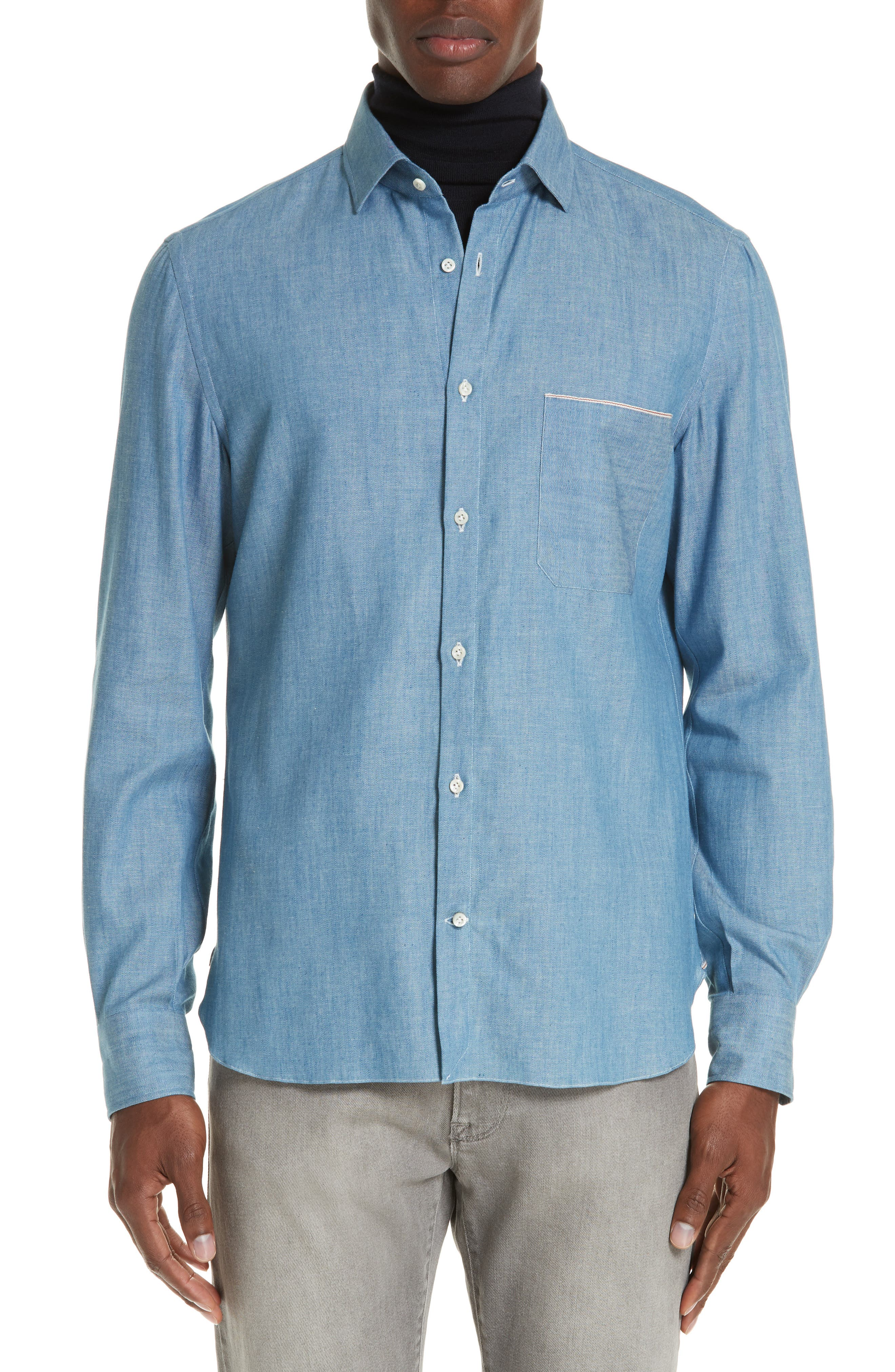 EIDOS Trim Fit Solid Sport Shirt in Denim