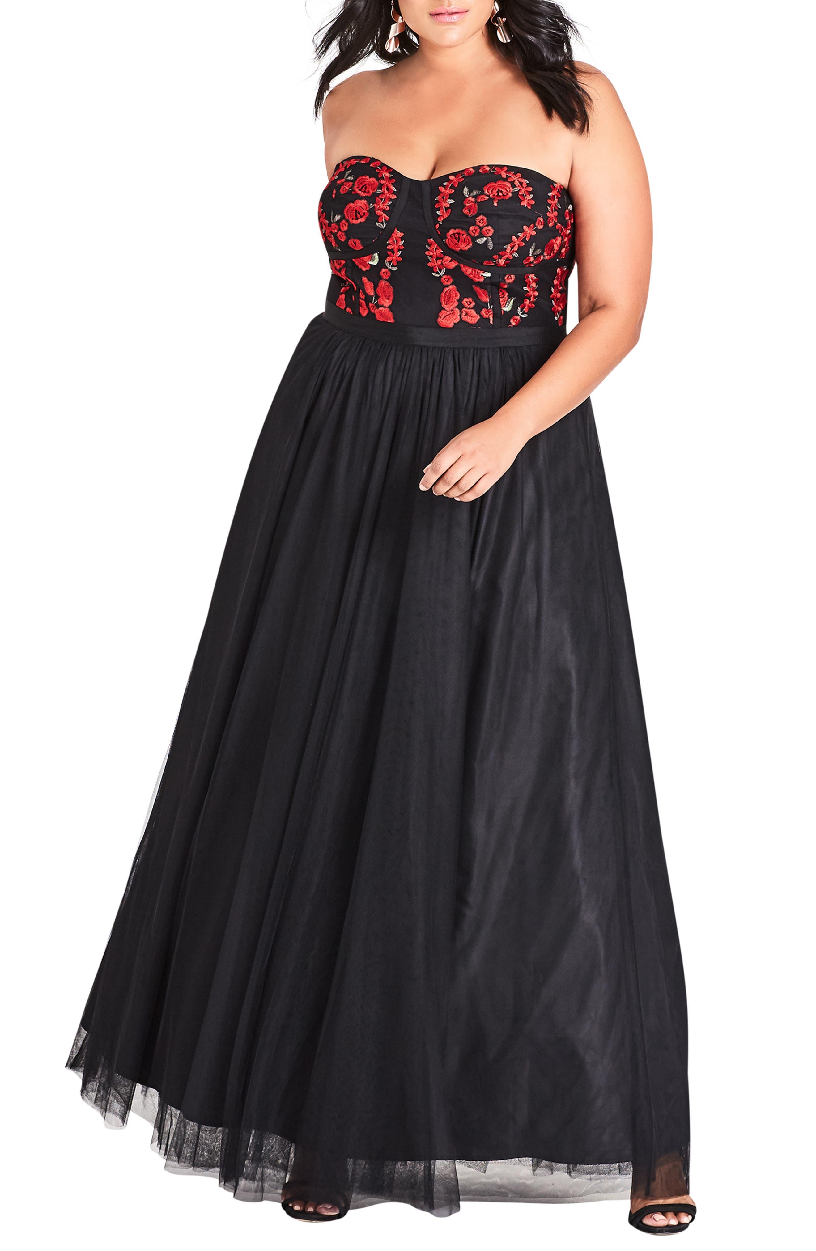 Plus Size City Chic Dolce Strapless Maxi Dress, Black